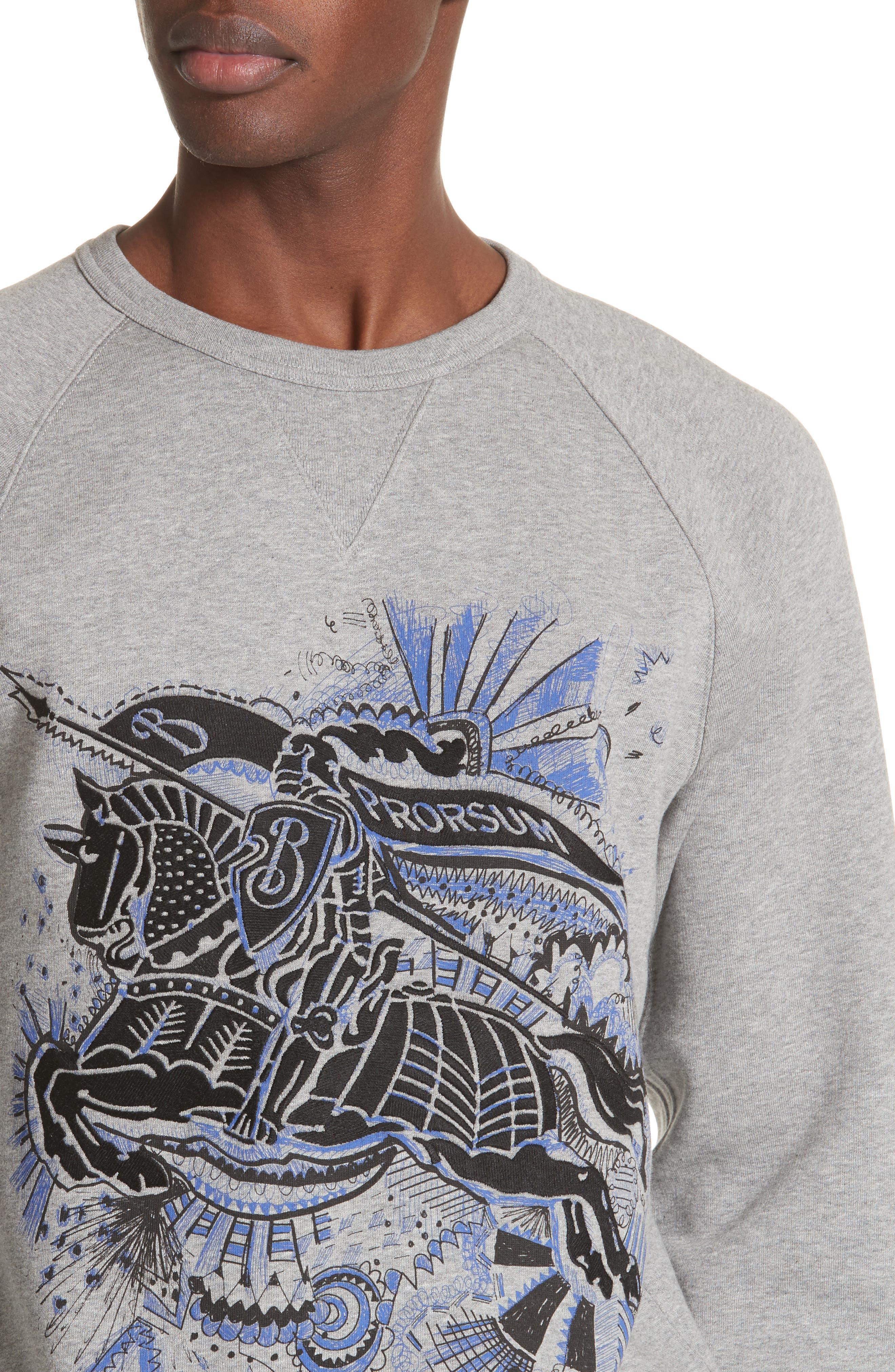 Kaneford Standard Fit Sweatshirt,                             Alternate thumbnail 4, color,                             Pale Grey Melange