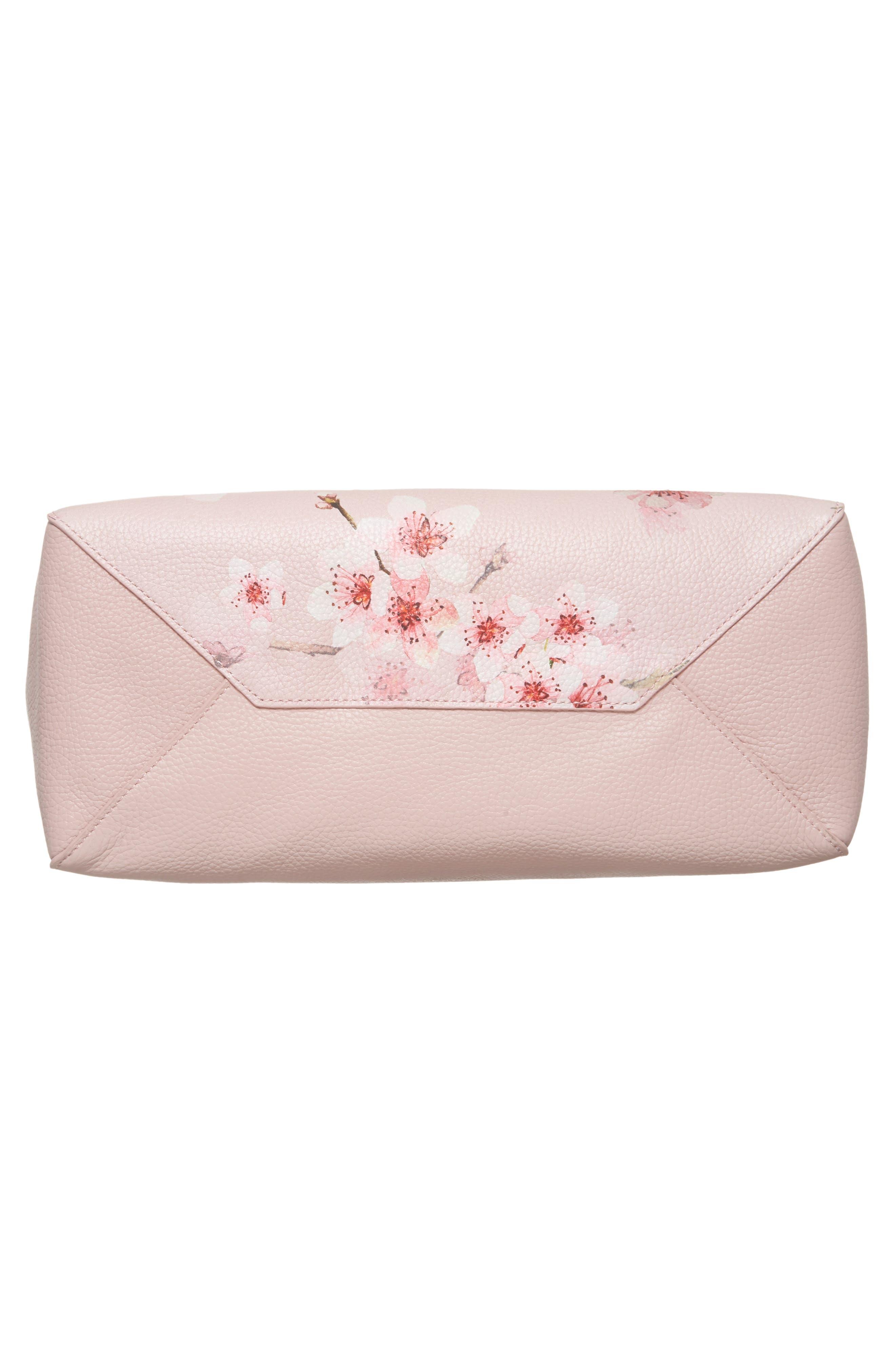 Soft Blossom Leather Shopper,                             Alternate thumbnail 6, color,                             Light Pink