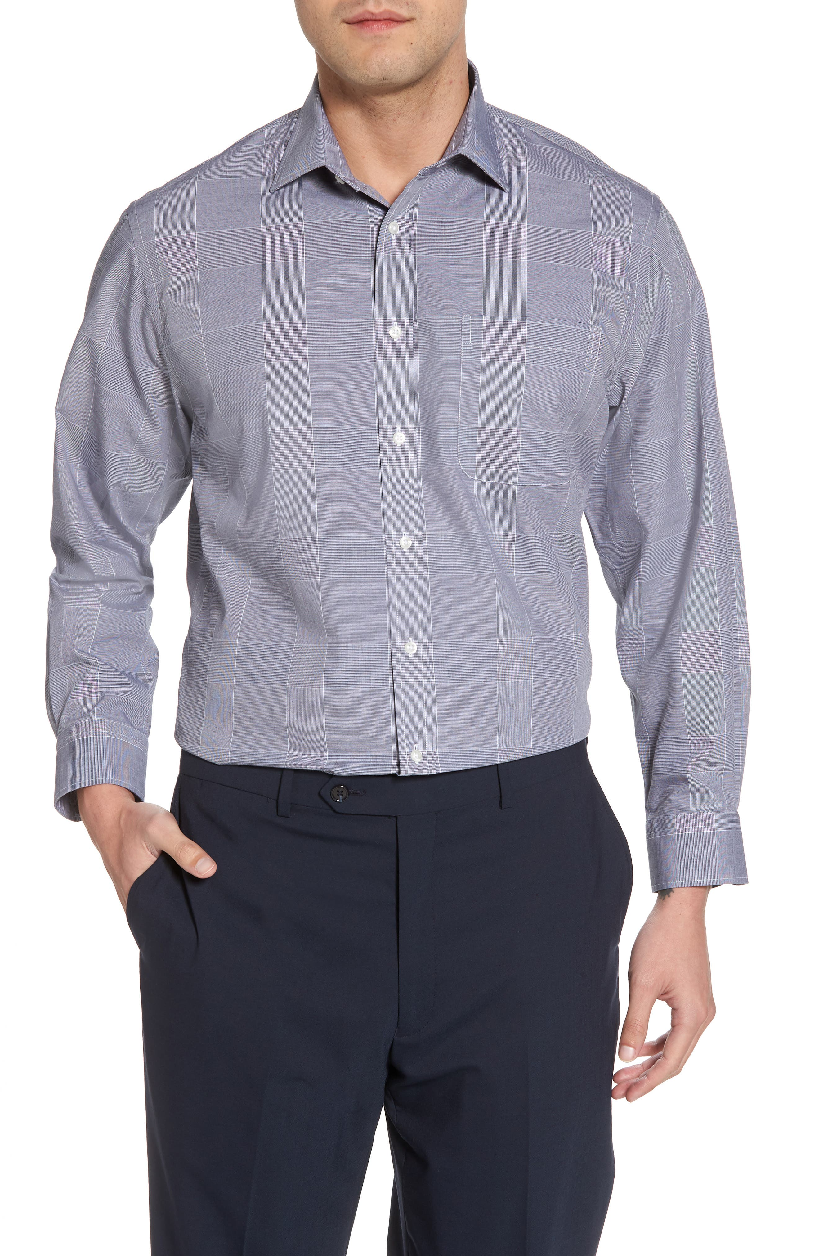 Smartcare<sup>™</sup> Traditional Fit Plaid Dress Shirt,                         Main,                         color, Navy Peacoat
