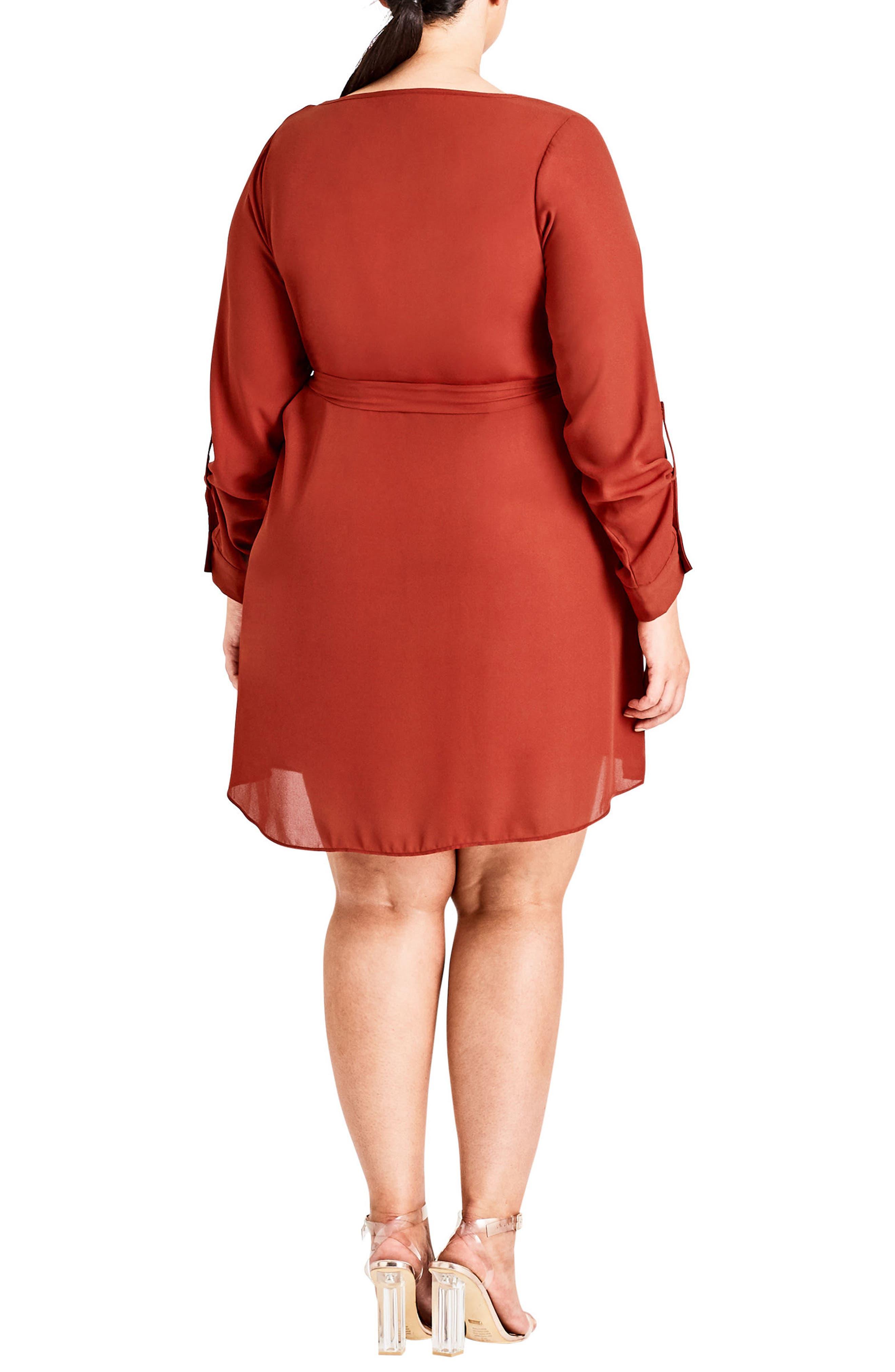 Zip Tunic Dress,                             Alternate thumbnail 2, color,                             Rust