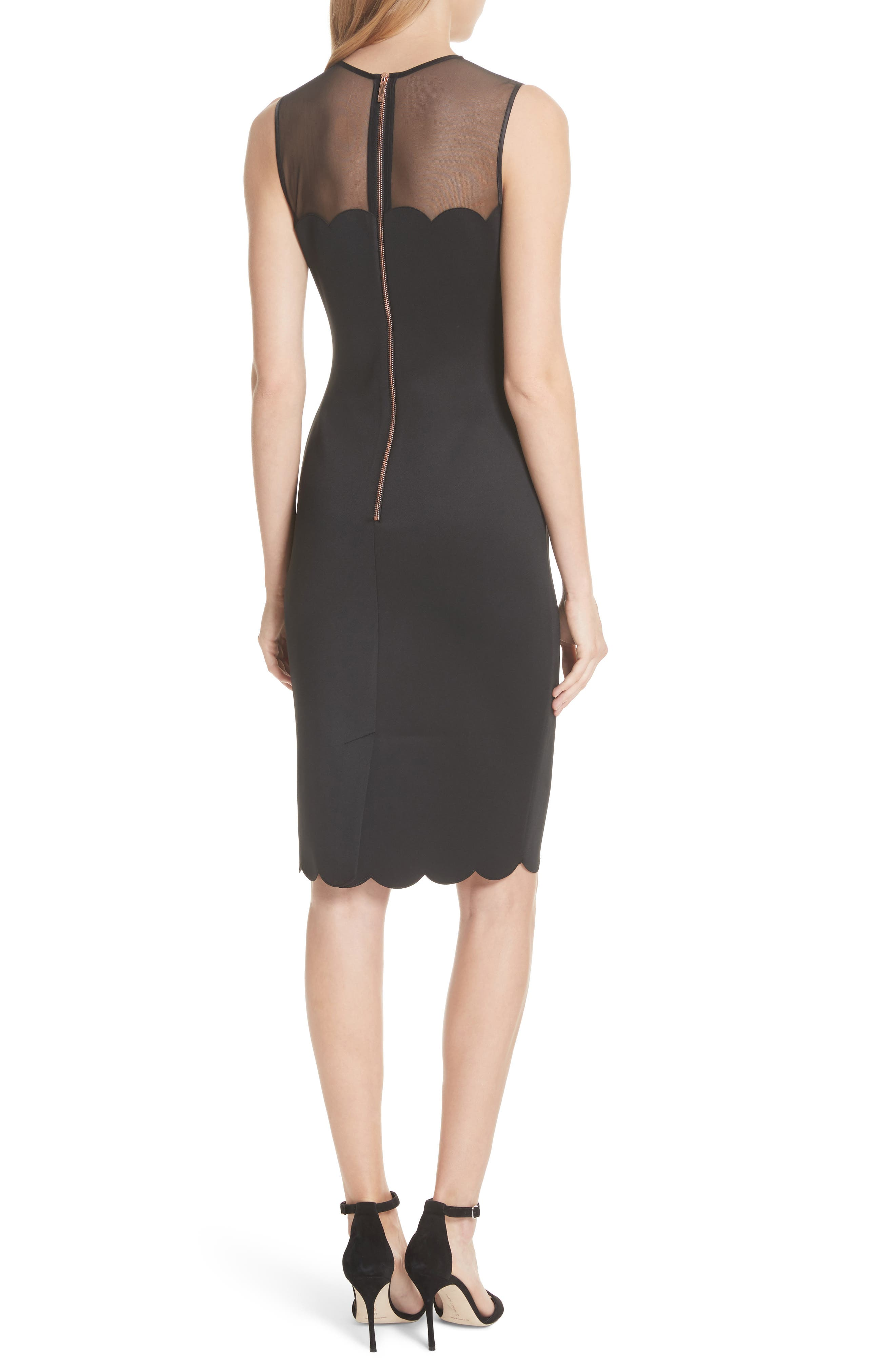 Scalloped Mesh Yoke Body-Con Dress,                             Alternate thumbnail 2, color,                             Black