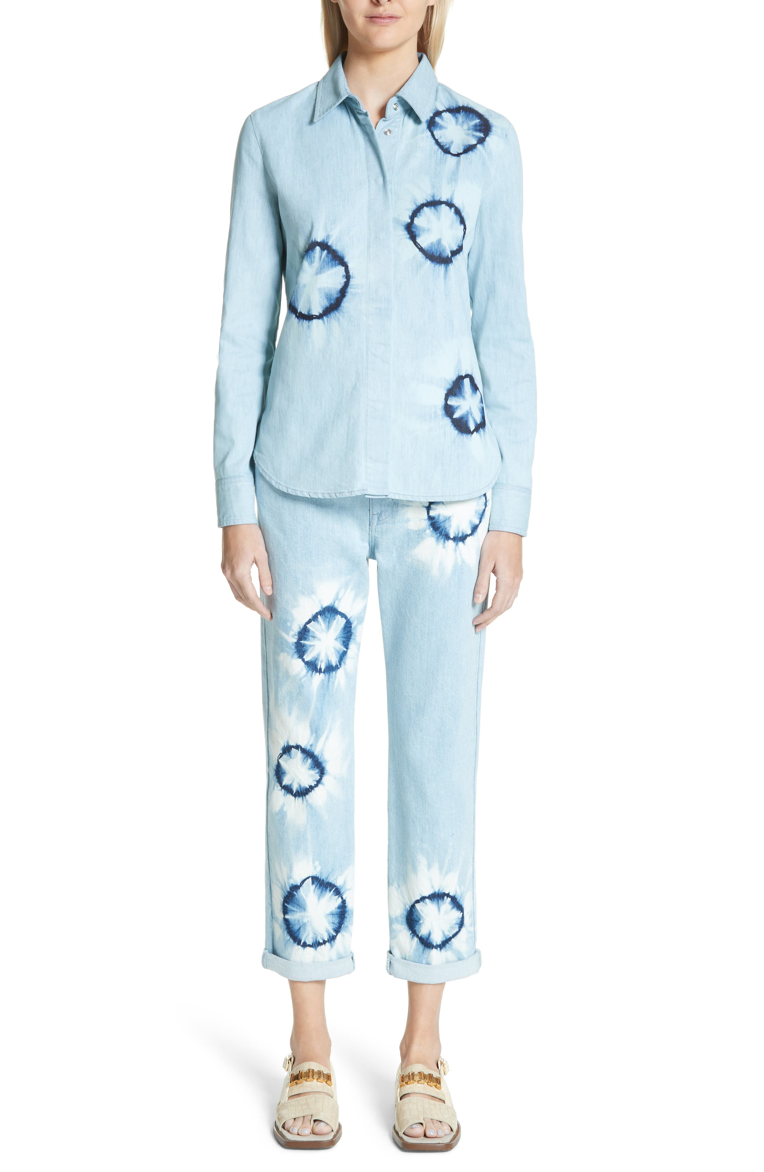 Tie Dye Boyfriend Jeans,                             Alternate thumbnail 2, color,                             Light Blue