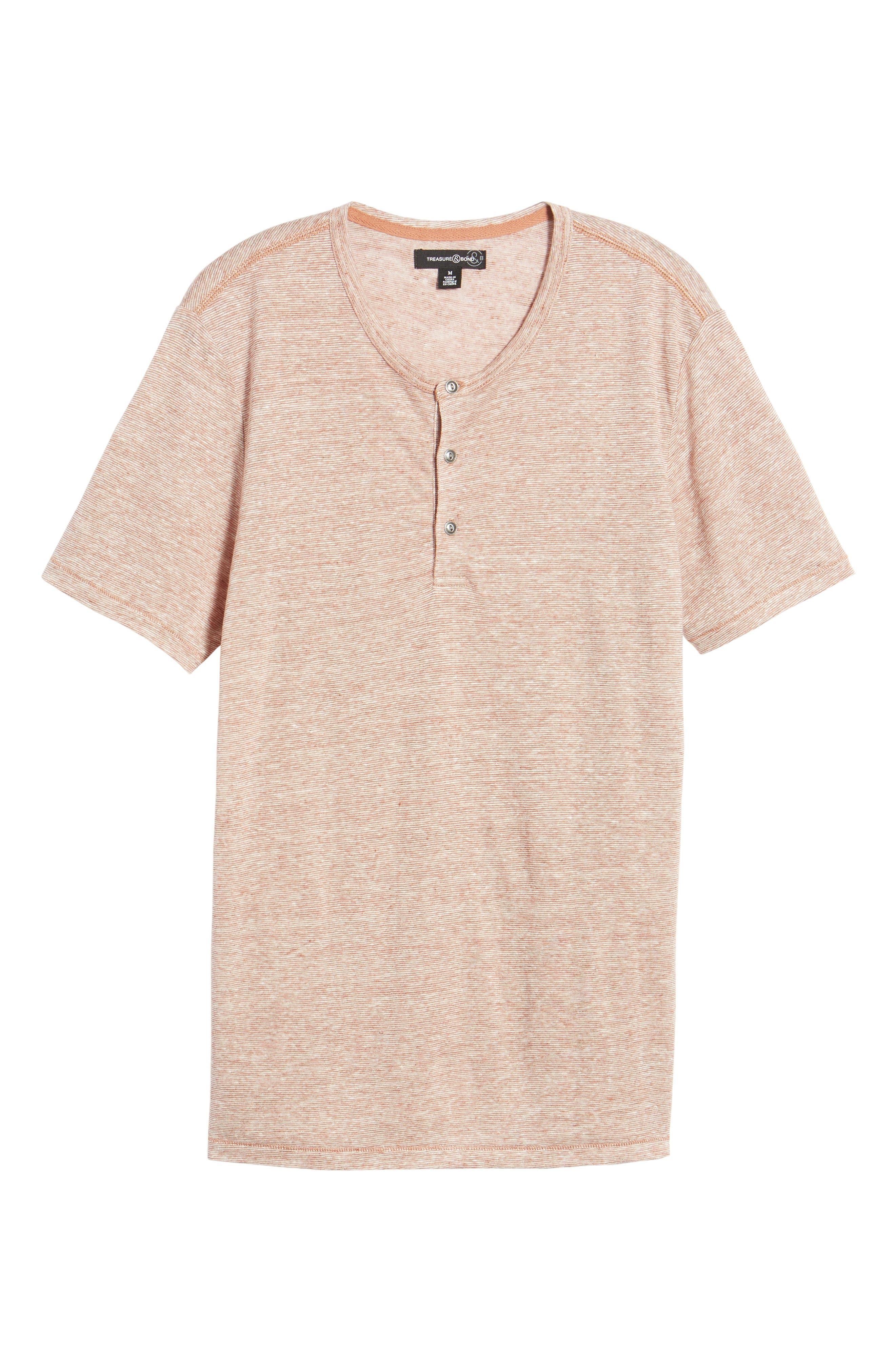 Short Sleeve Linen Henley,                             Alternate thumbnail 6, color,                             Tan Adobe Stripe