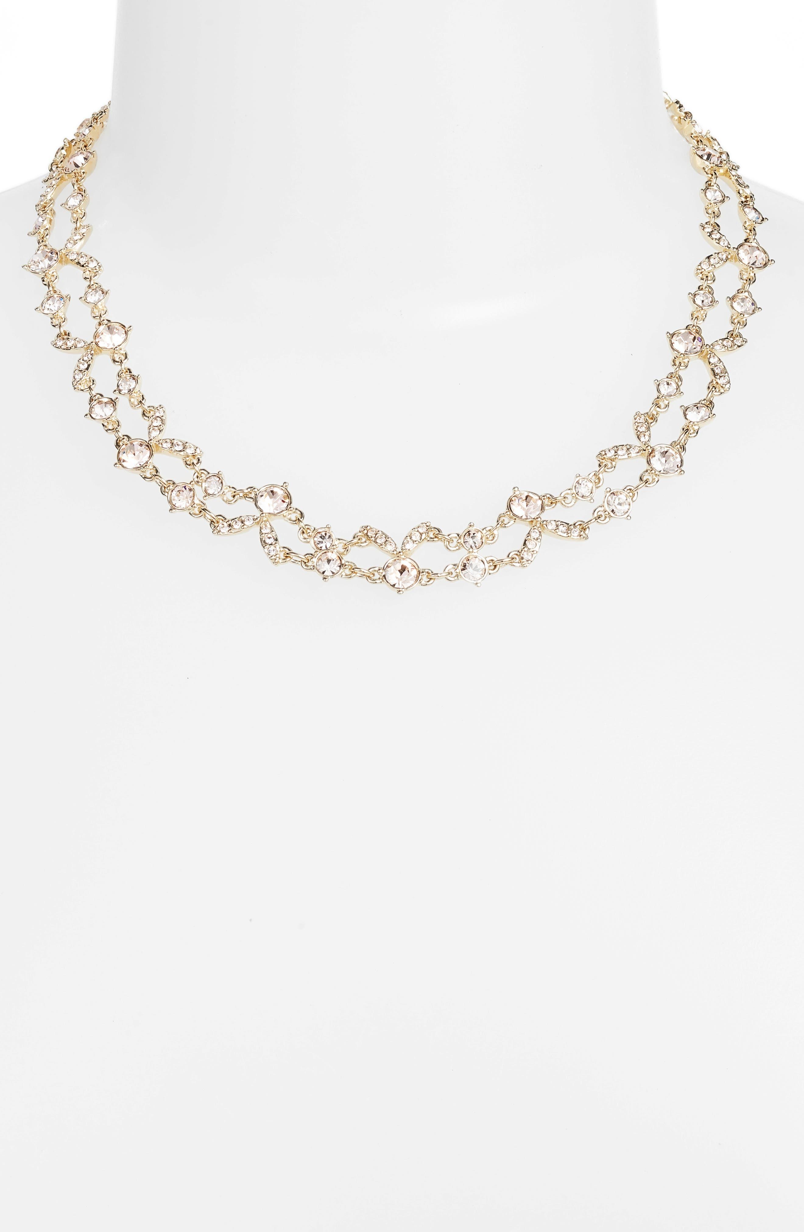 2-Row Crystal Collar Necklace,                             Alternate thumbnail 2, color,                             Gold/ Silk