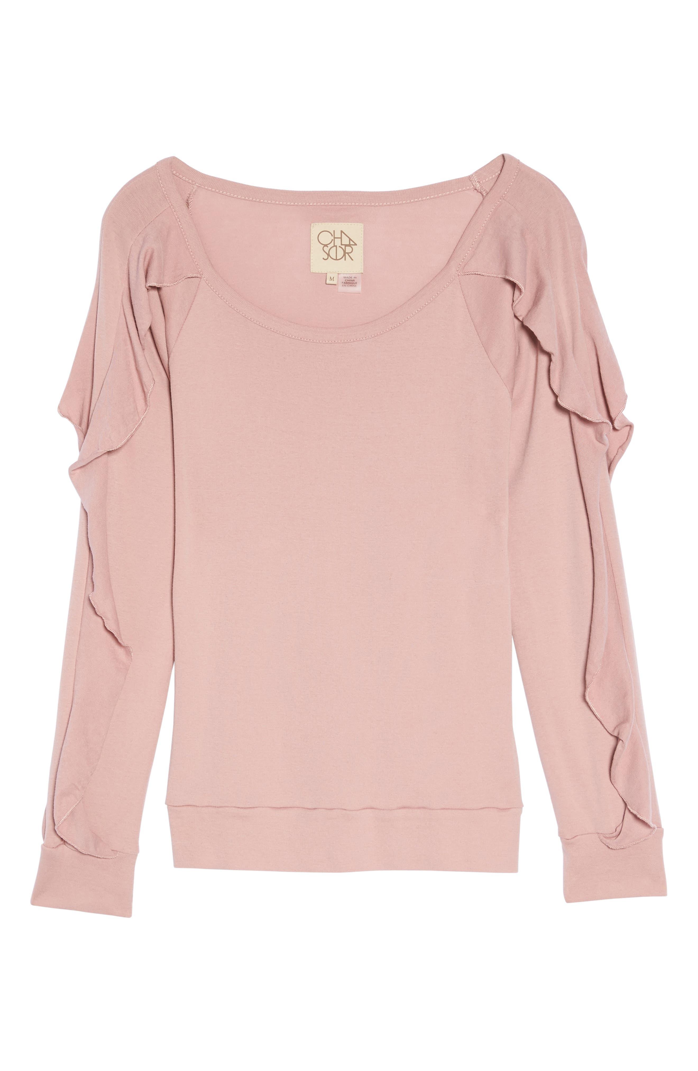 Ruffle Sleeve Sweatshirt,                             Alternate thumbnail 4, color,                             Antique Rose