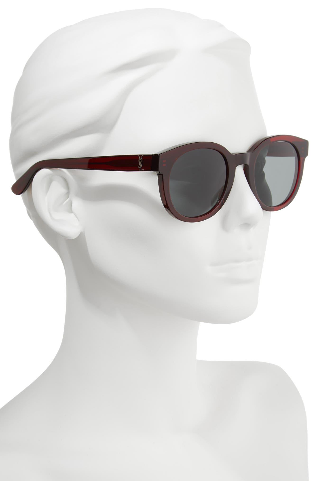 51mm Round Sunglasses,                             Alternate thumbnail 2, color,                             Burgundy