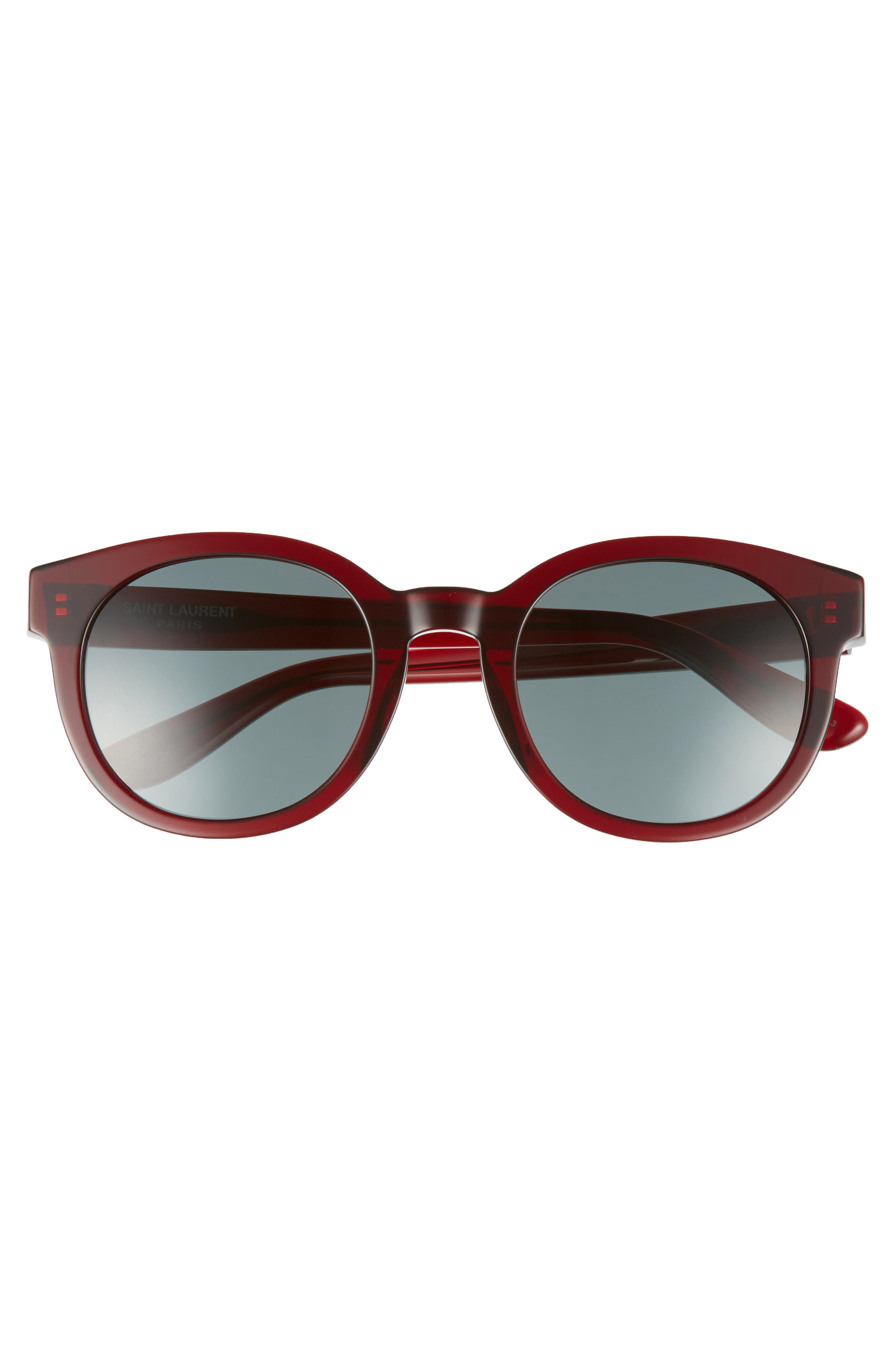 51mm Round Sunglasses,                             Alternate thumbnail 3, color,                             Burgundy