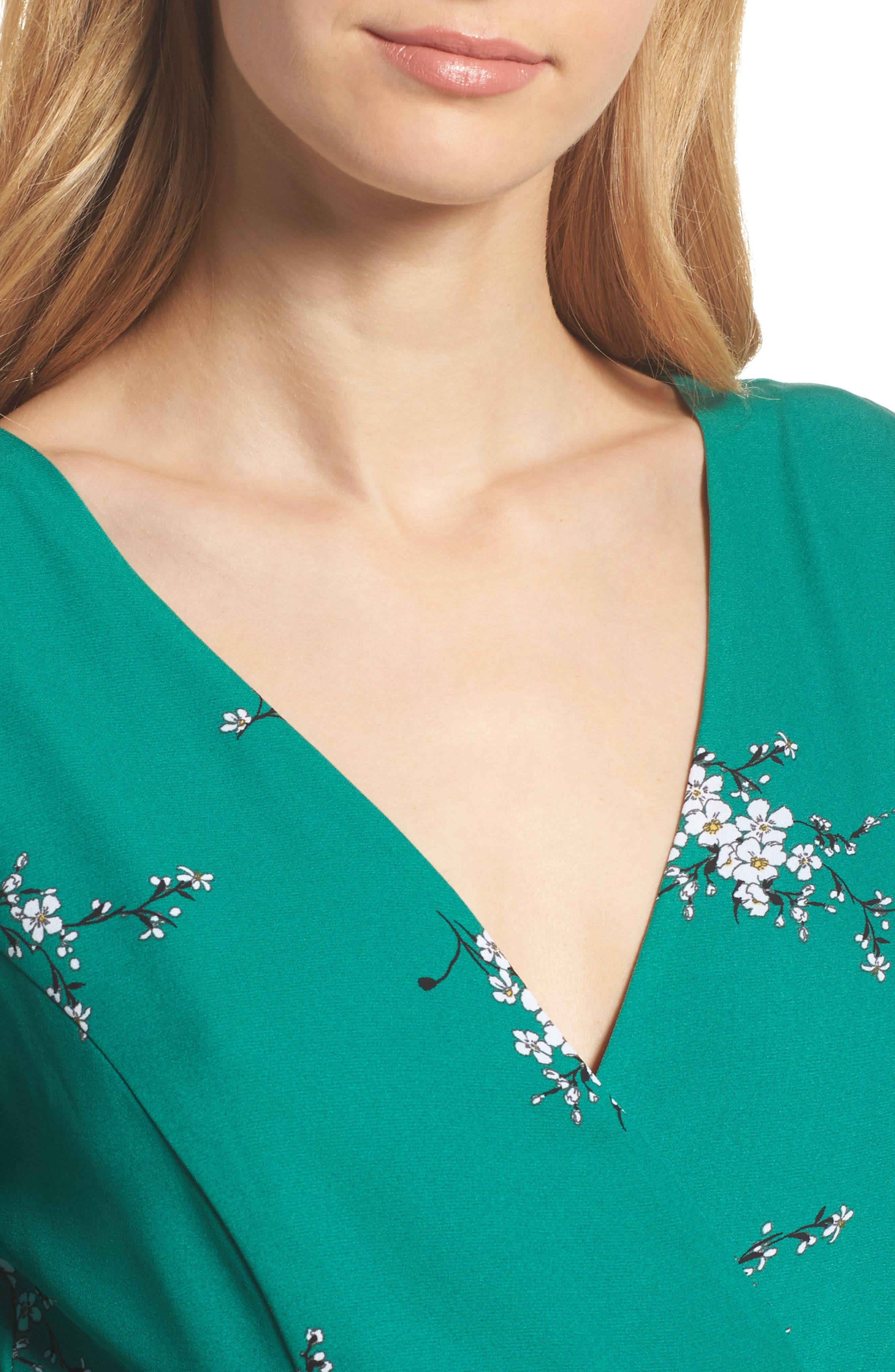 Floral Faux Wrap Dress,                             Alternate thumbnail 4, color,                             Green Branch Floral