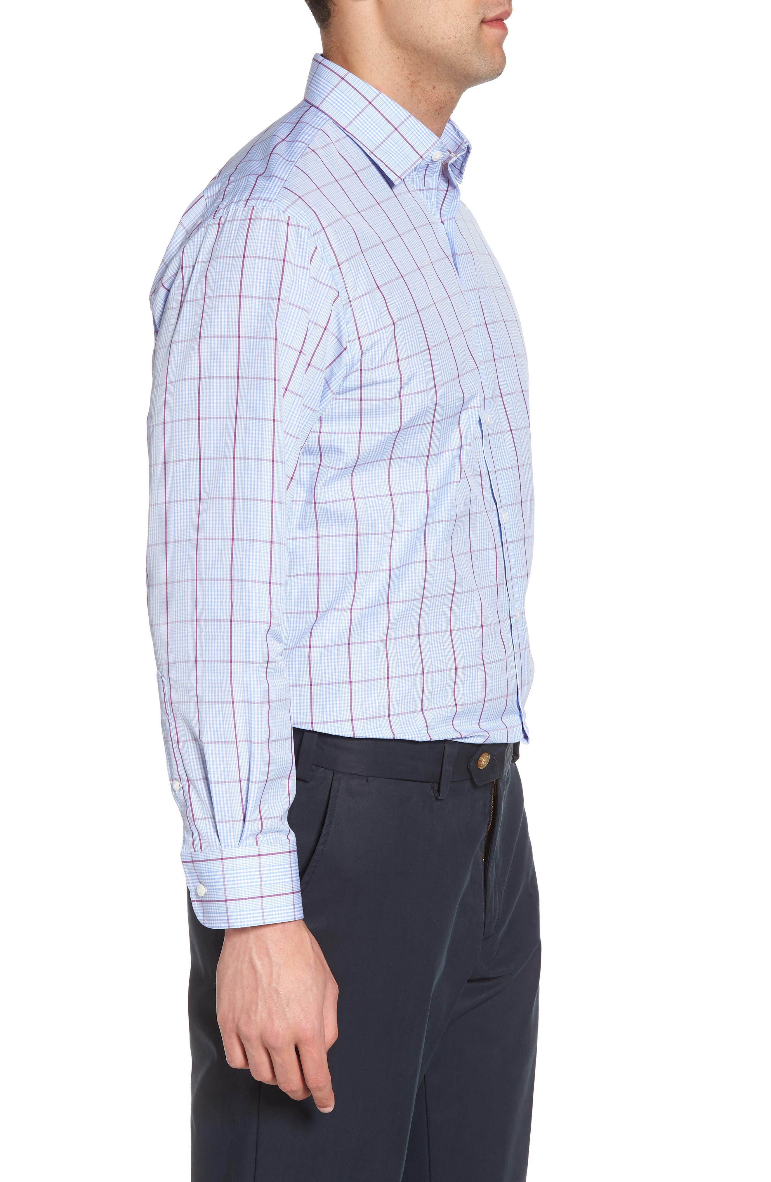 Traditional Fit Plaid Dress Shirt,                             Alternate thumbnail 4, color,                             Purple Sparkle