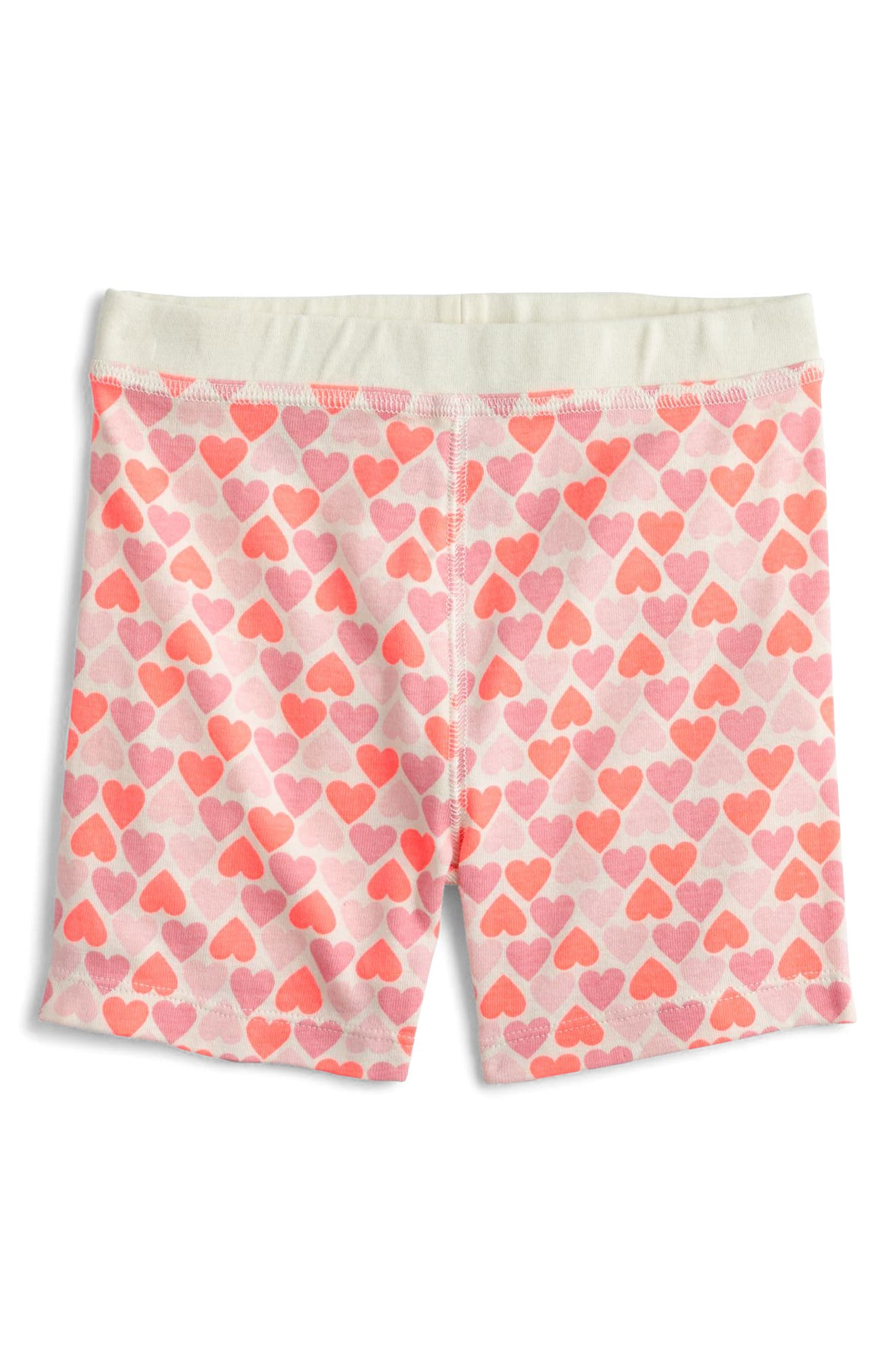 Stacked Hearts Fitted Two-Piece Pajamas,                             Alternate thumbnail 3, color,                             Neon Sunrise