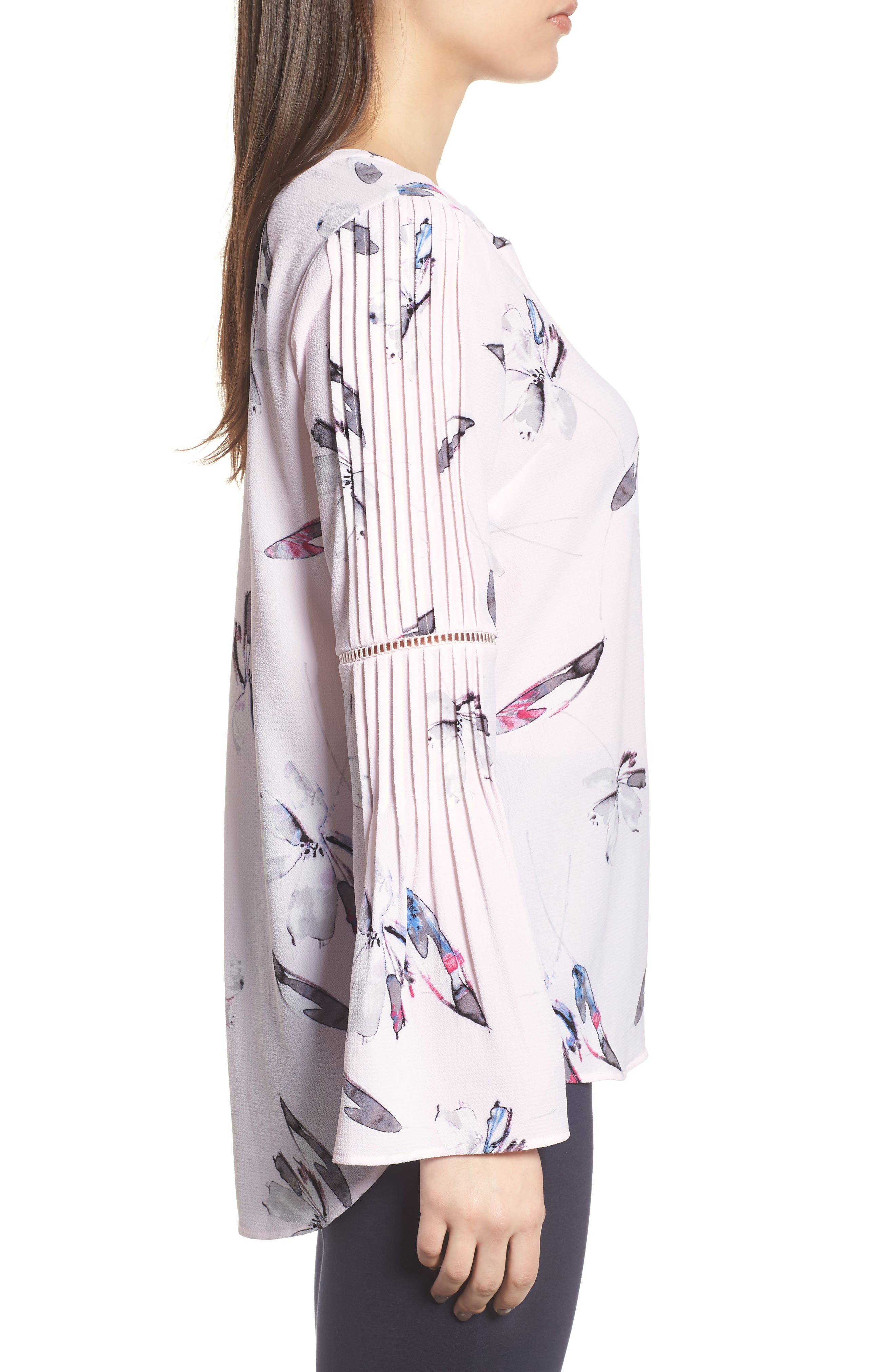 Pleated Bell Sleeve Floral Crepe Top,                             Alternate thumbnail 3, color,                             112-Light Pink