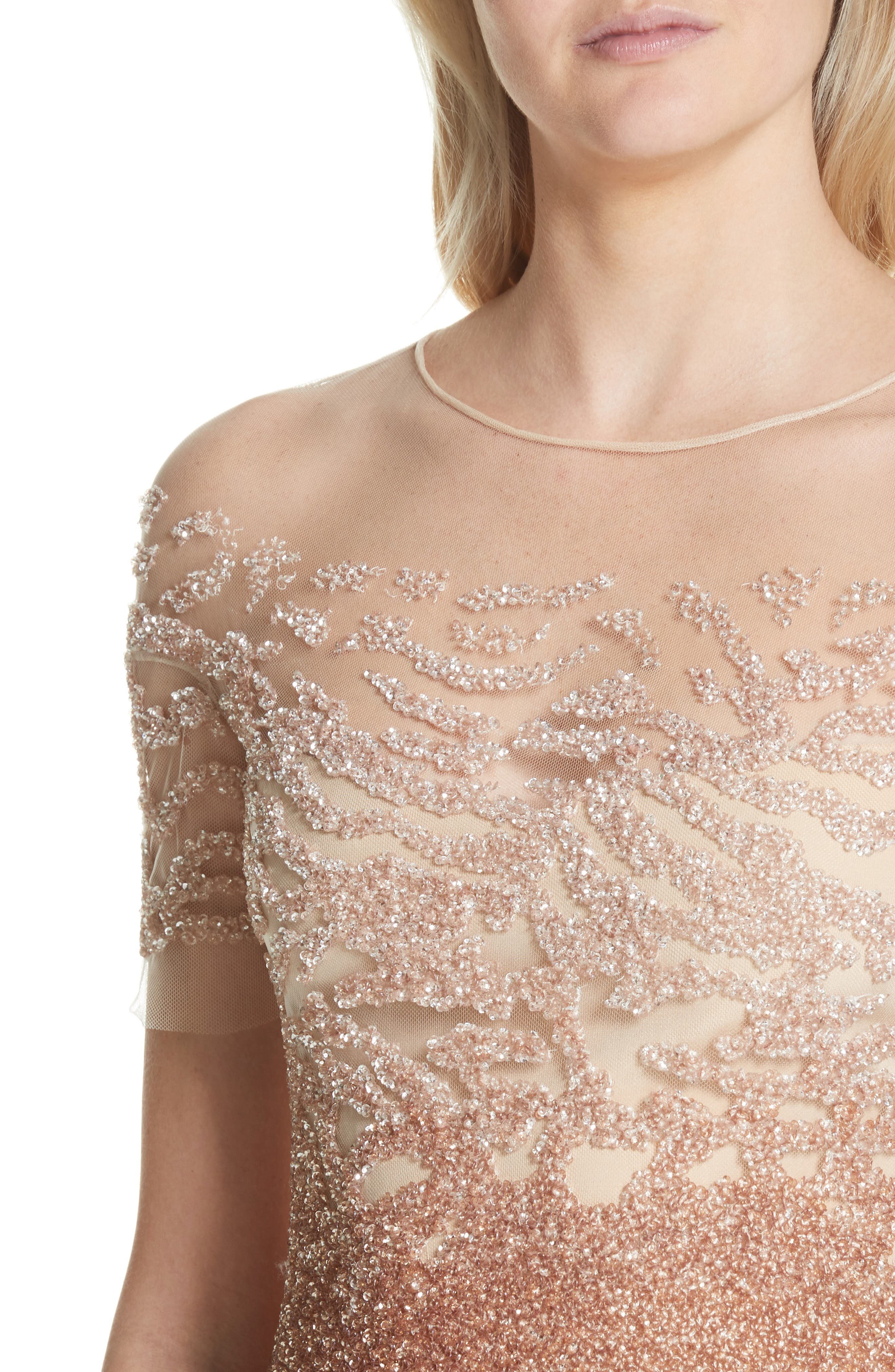 Beaded Illusion Dress,                             Alternate thumbnail 4, color,                             Gold/ Copper Ombre