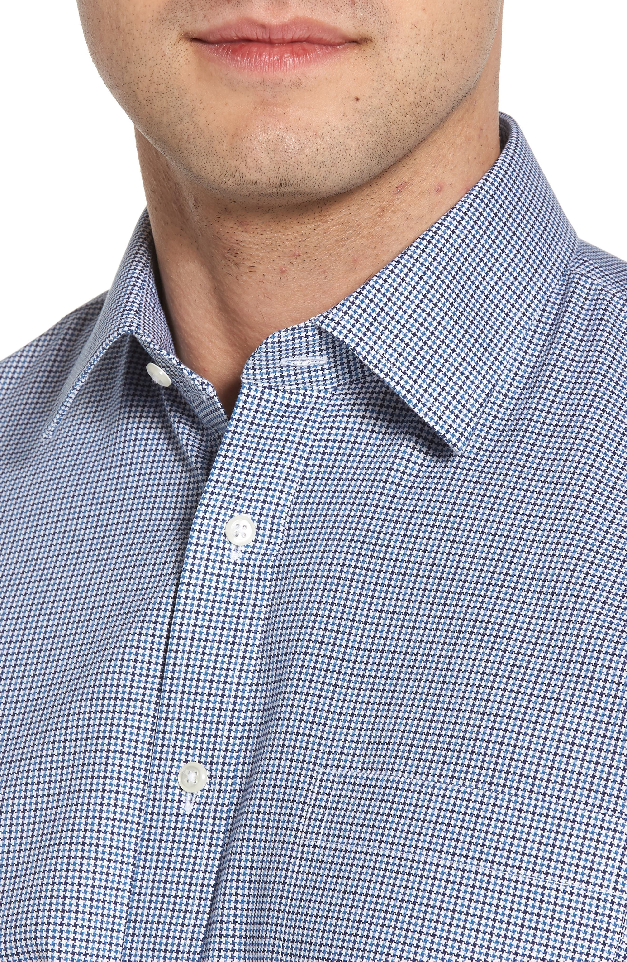 Smartcare<sup>™</sup> Traditional Fit Houndstooth Dress Shirt,                             Alternate thumbnail 2, color,                             Navy Medieval