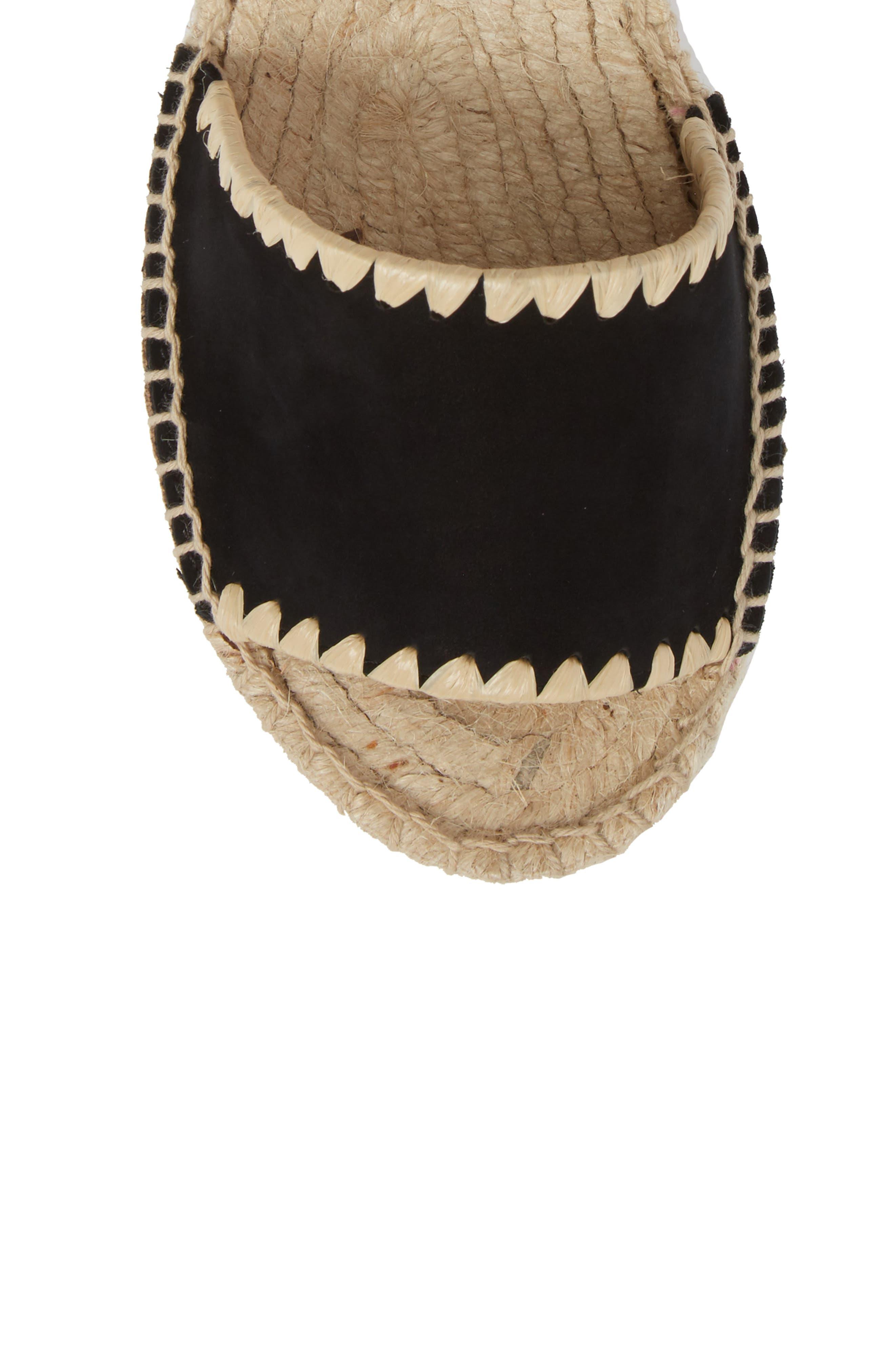Ria Espadrille Platform Sandal,                             Alternate thumbnail 5, color,                             Black Leather