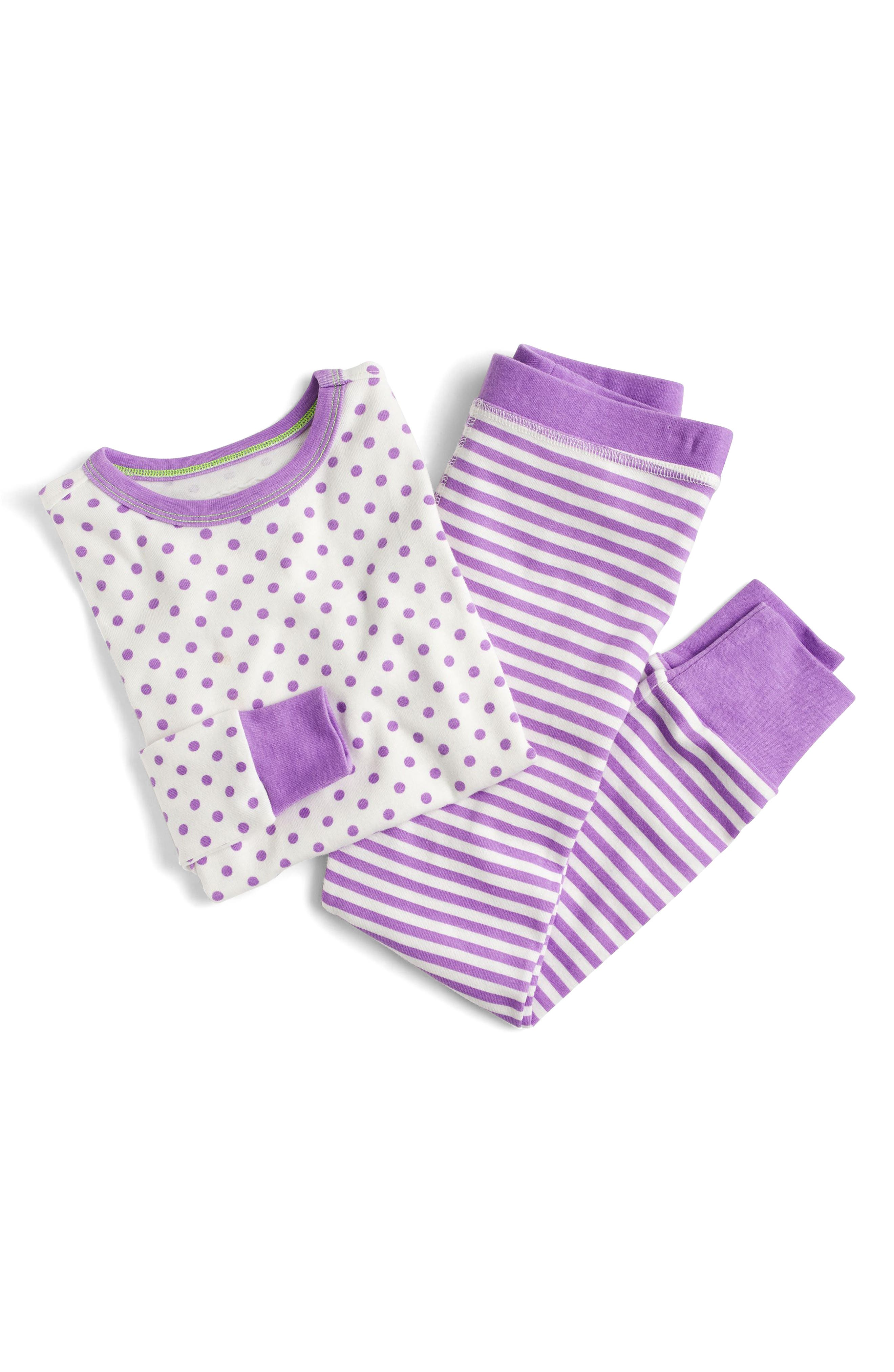 Dot & Stripe Fitted Two-Piece Pajamas,                         Main,                         color, Bright Purple