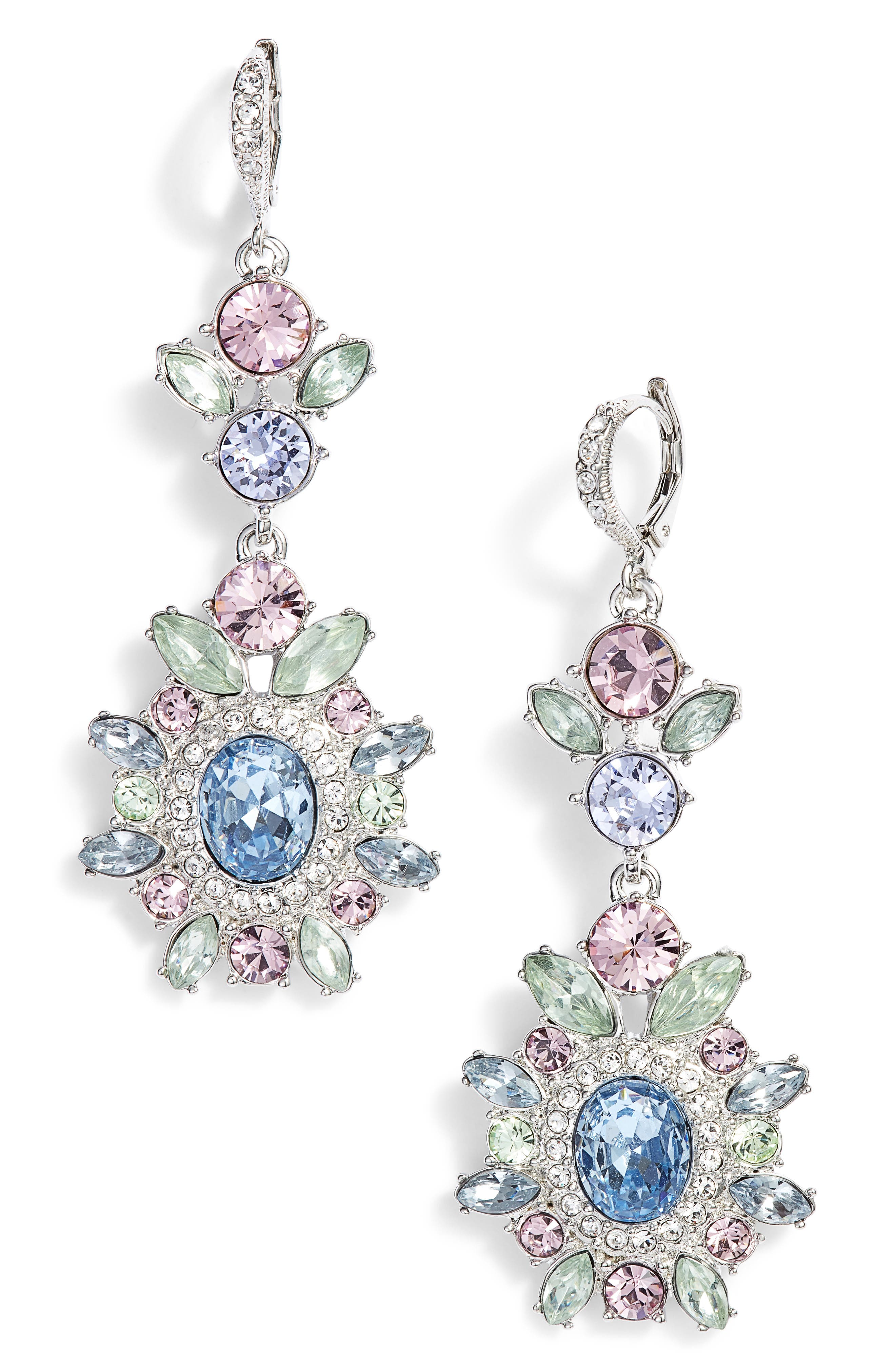 Large Double Drop Crystal Earrings,                             Main thumbnail 1, color,                             Rhodium/ Pastel Multi