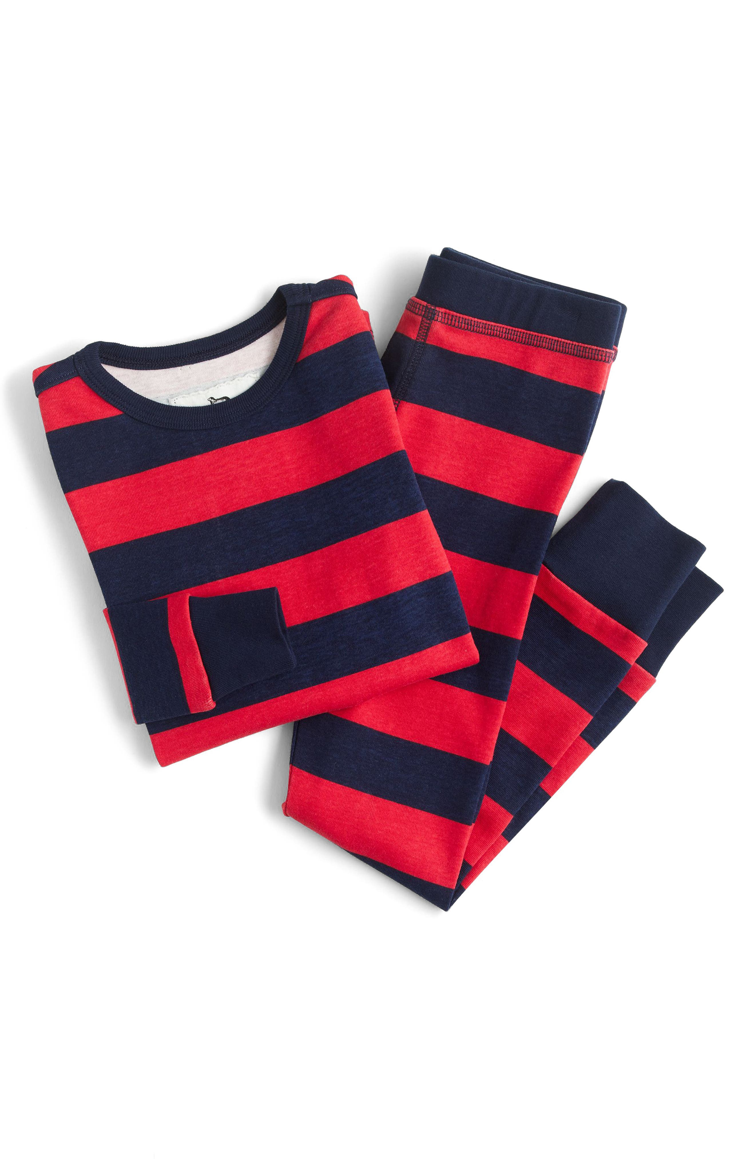 crewcuts by J.Crew Red Stripe Print Fitted Two-Piece Pajamas (Toddler Boys, Little Boys & Big Boys)