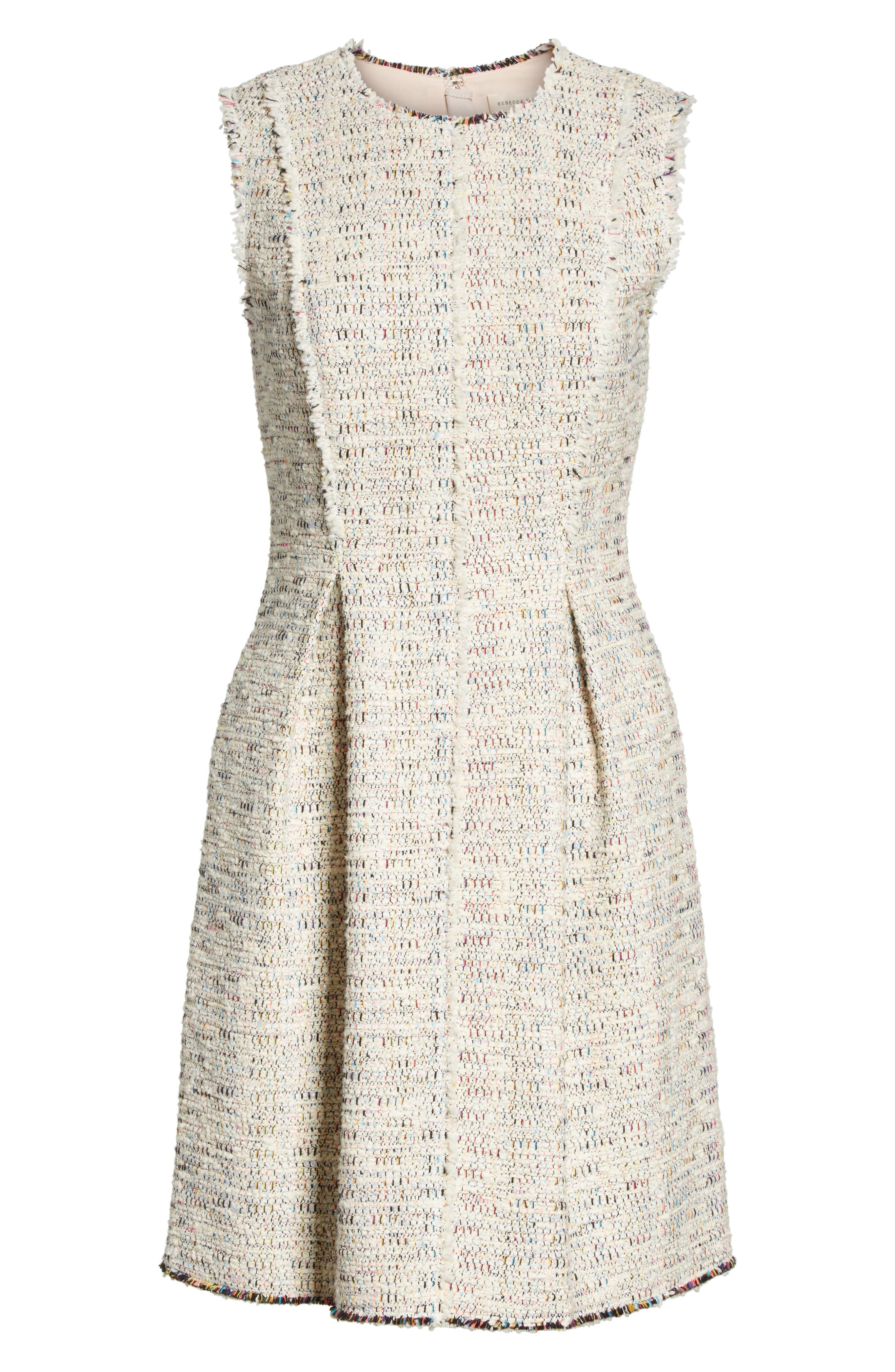 Rainbow Tweed A-Line Dress,                             Alternate thumbnail 6, color,                             Multi