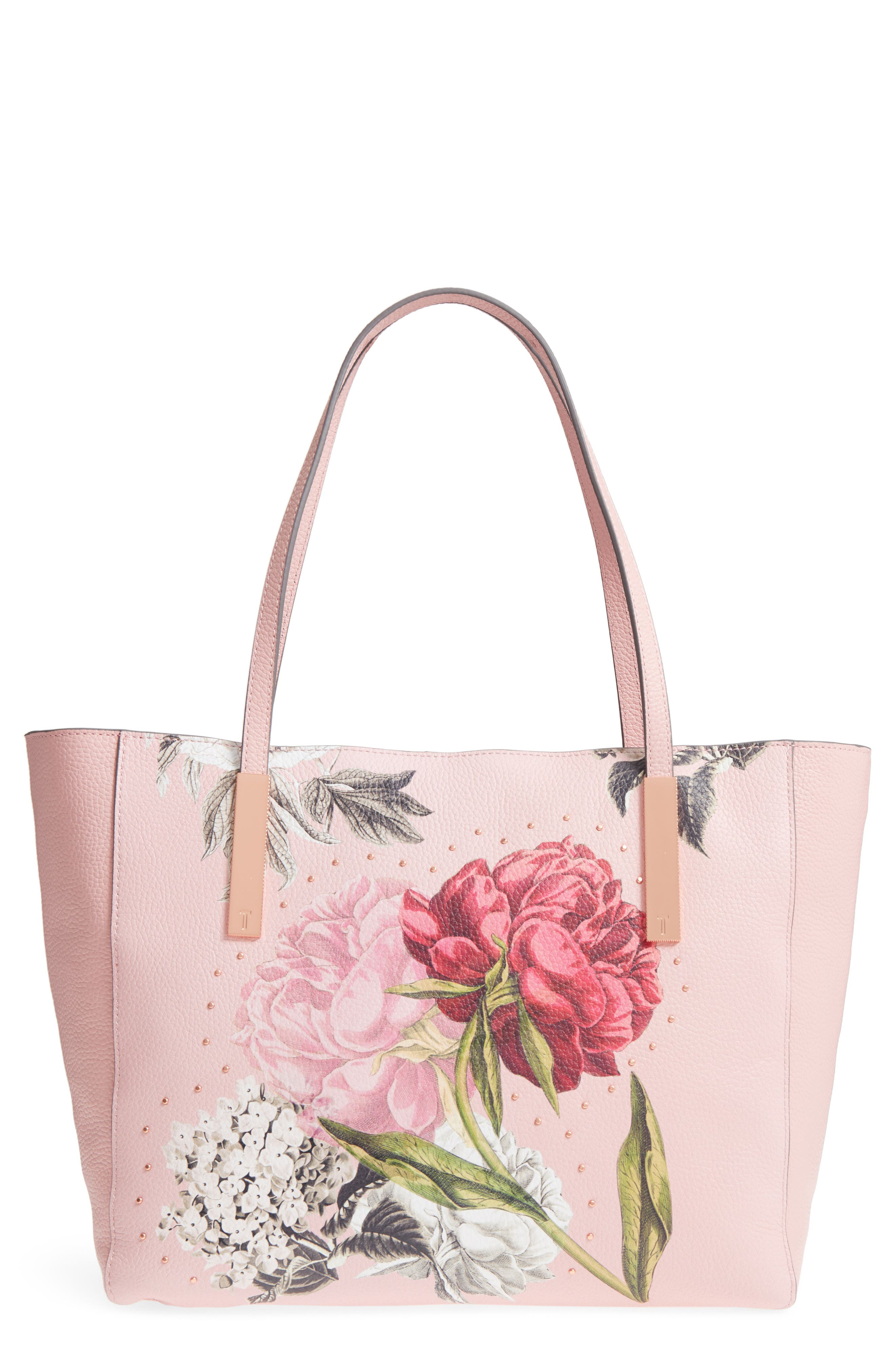 Palace Gardens Large Leather Tote,                             Main thumbnail 1, color,                             Dusky Pink
