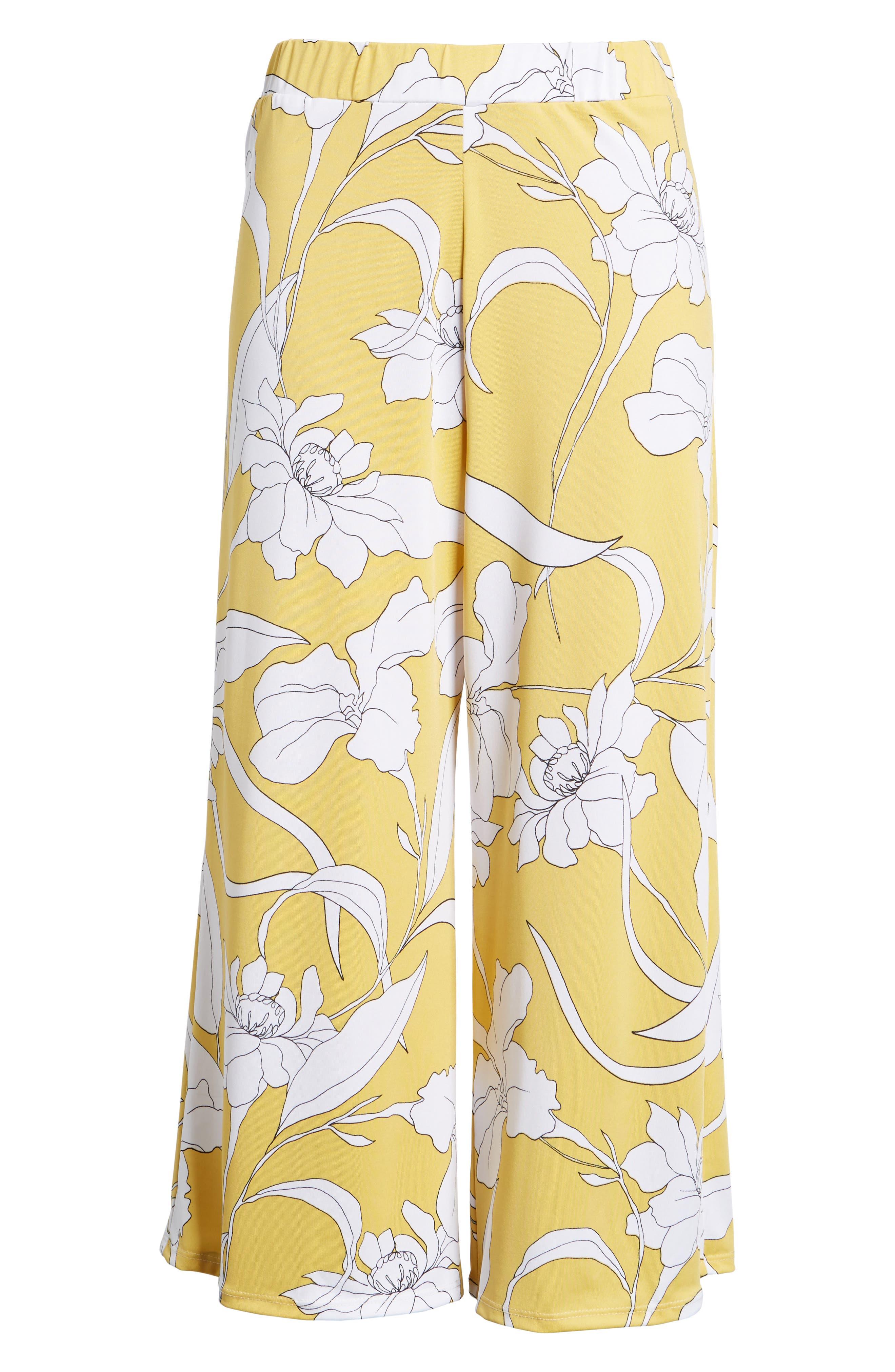 Floral Print Wide Leg Crop Pants,                             Alternate thumbnail 6, color,                             Yellow Floral