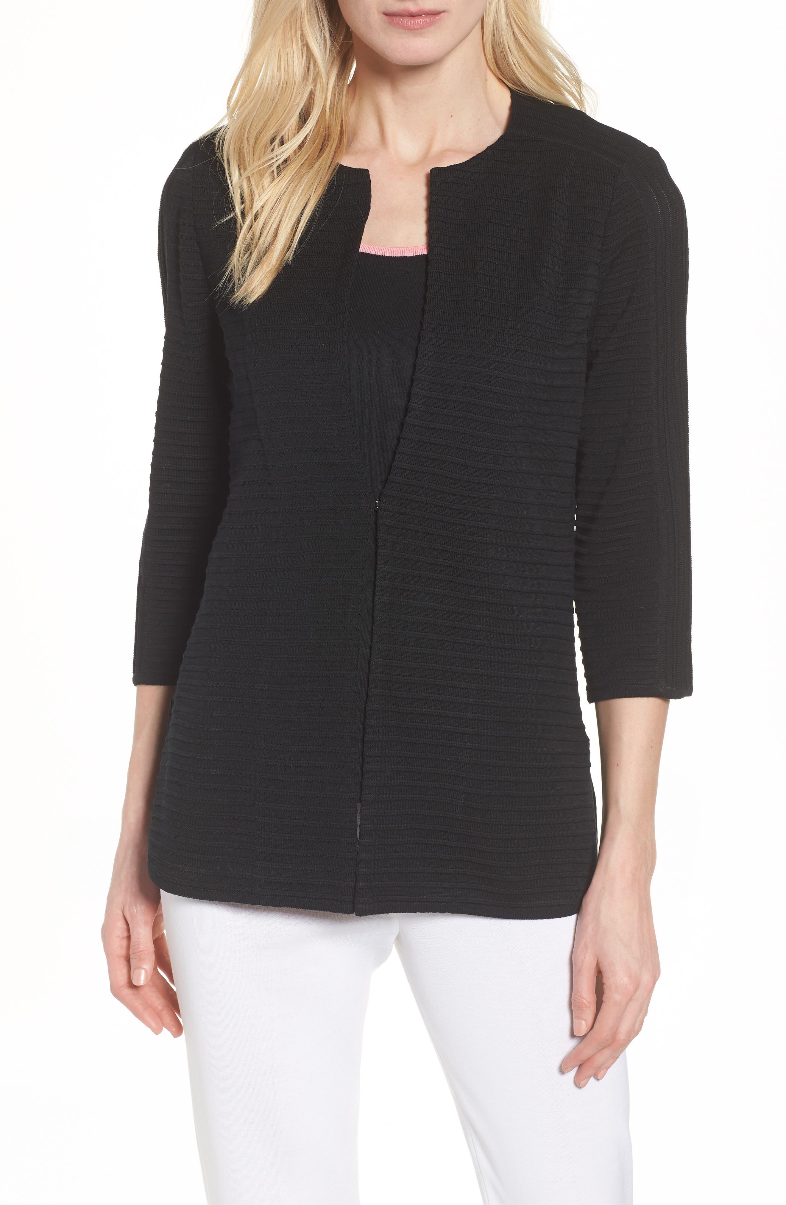 Ribbed Knit Jacket,                             Main thumbnail 1, color,                             Black
