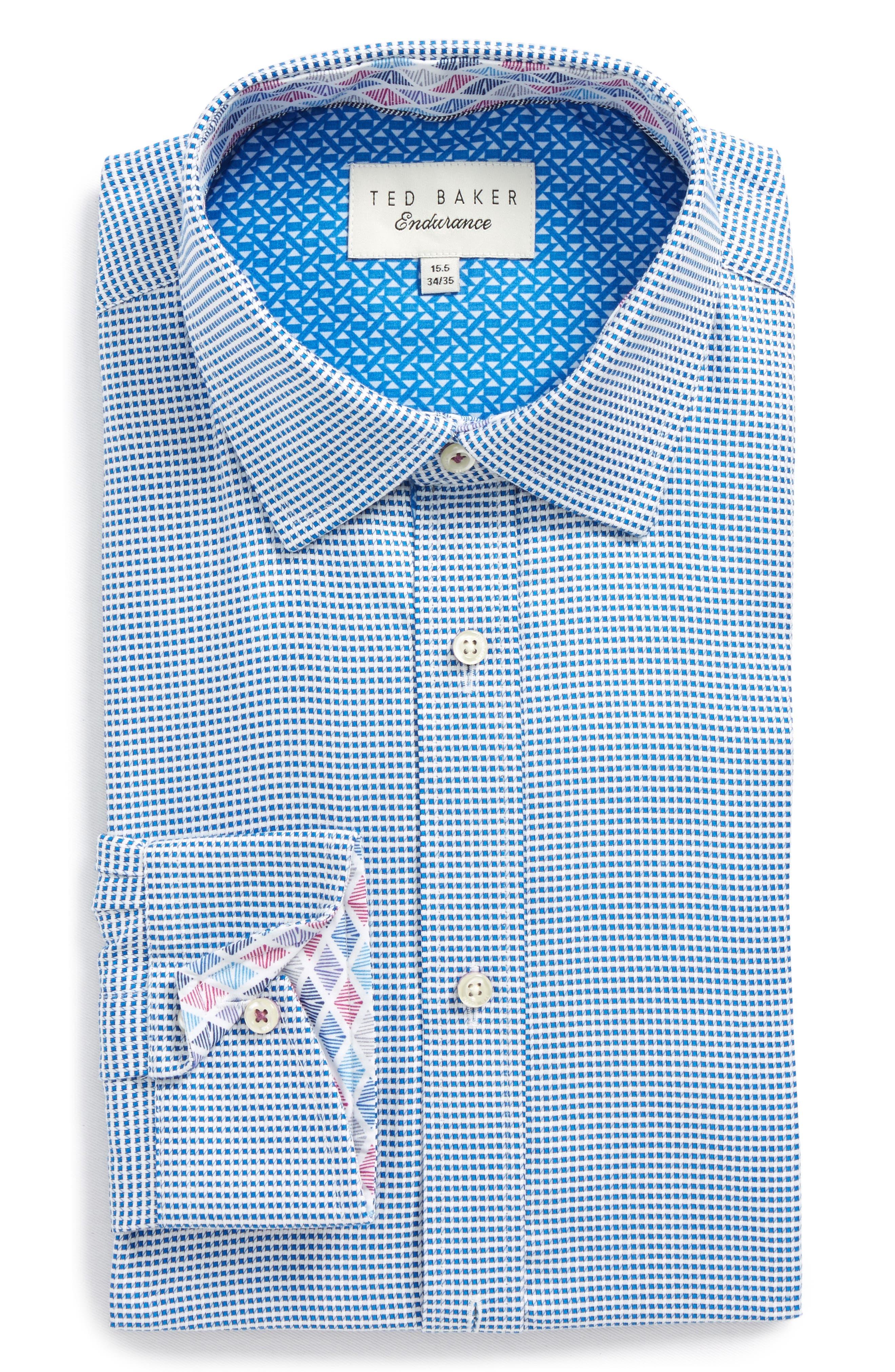 Endurance Giara Trim Fit Dress Shirt,                         Main,                         color, Blue