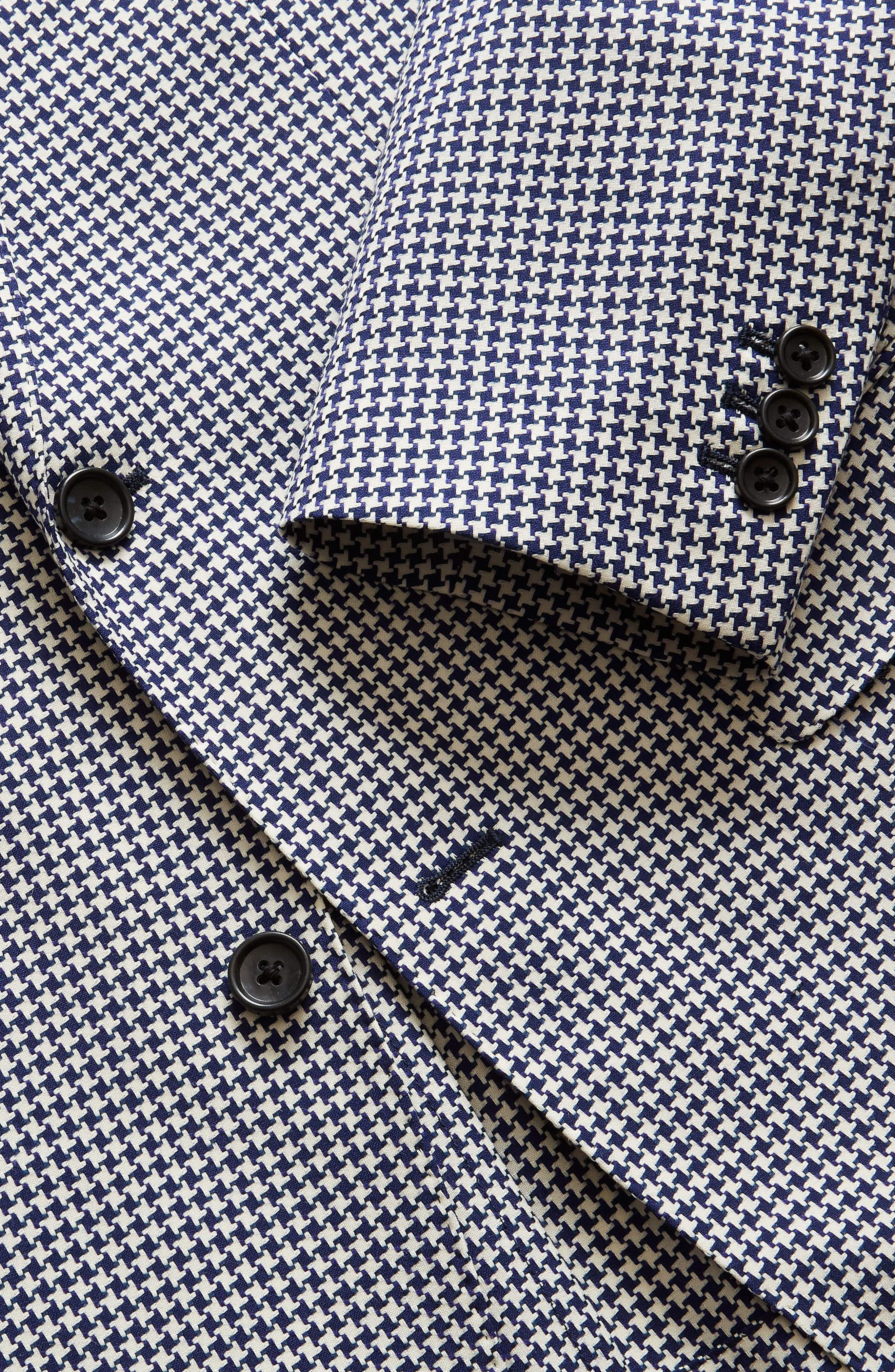 Capstone Slim Fit Houndstooth Wool Sport Coat,                             Alternate thumbnail 4, color,                             Navy White Houndstooth