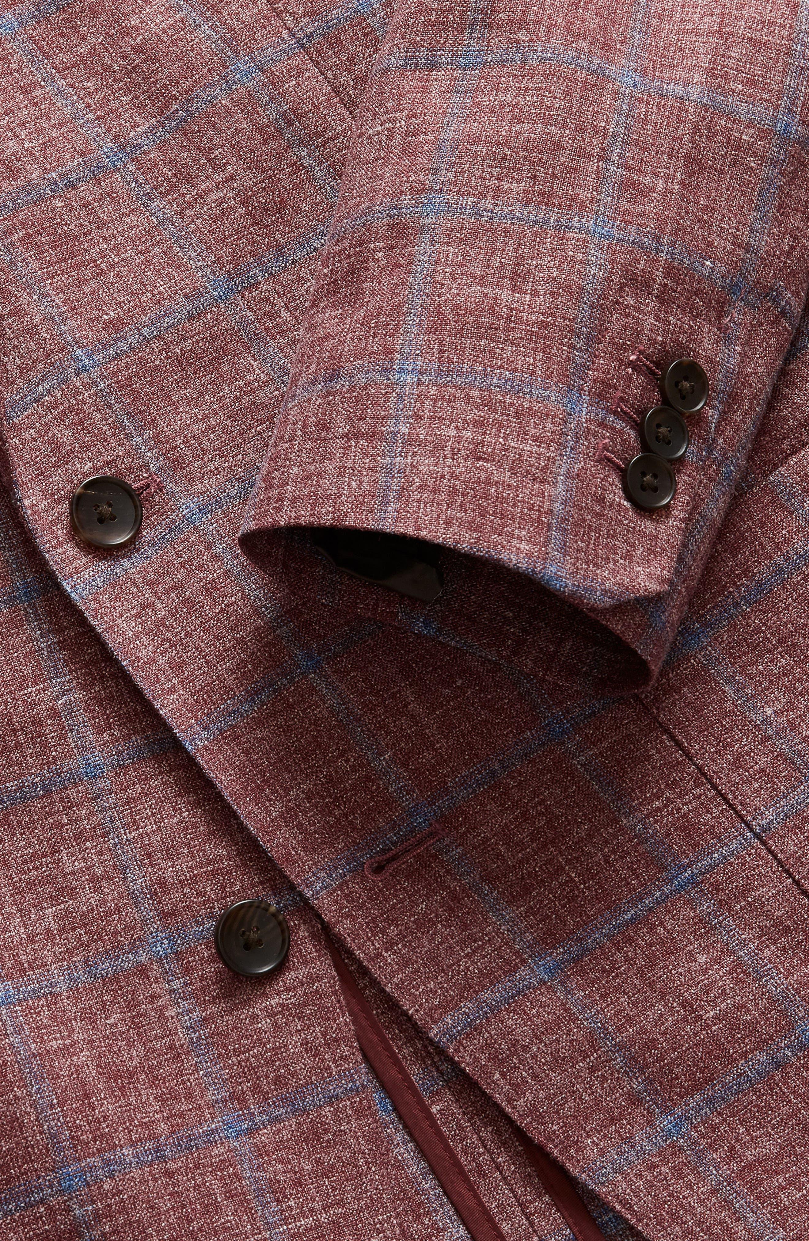 Capstone Slim Fit Windowpane Wool Blend Sport Coat,                             Alternate thumbnail 4, color,                             Red Plaid