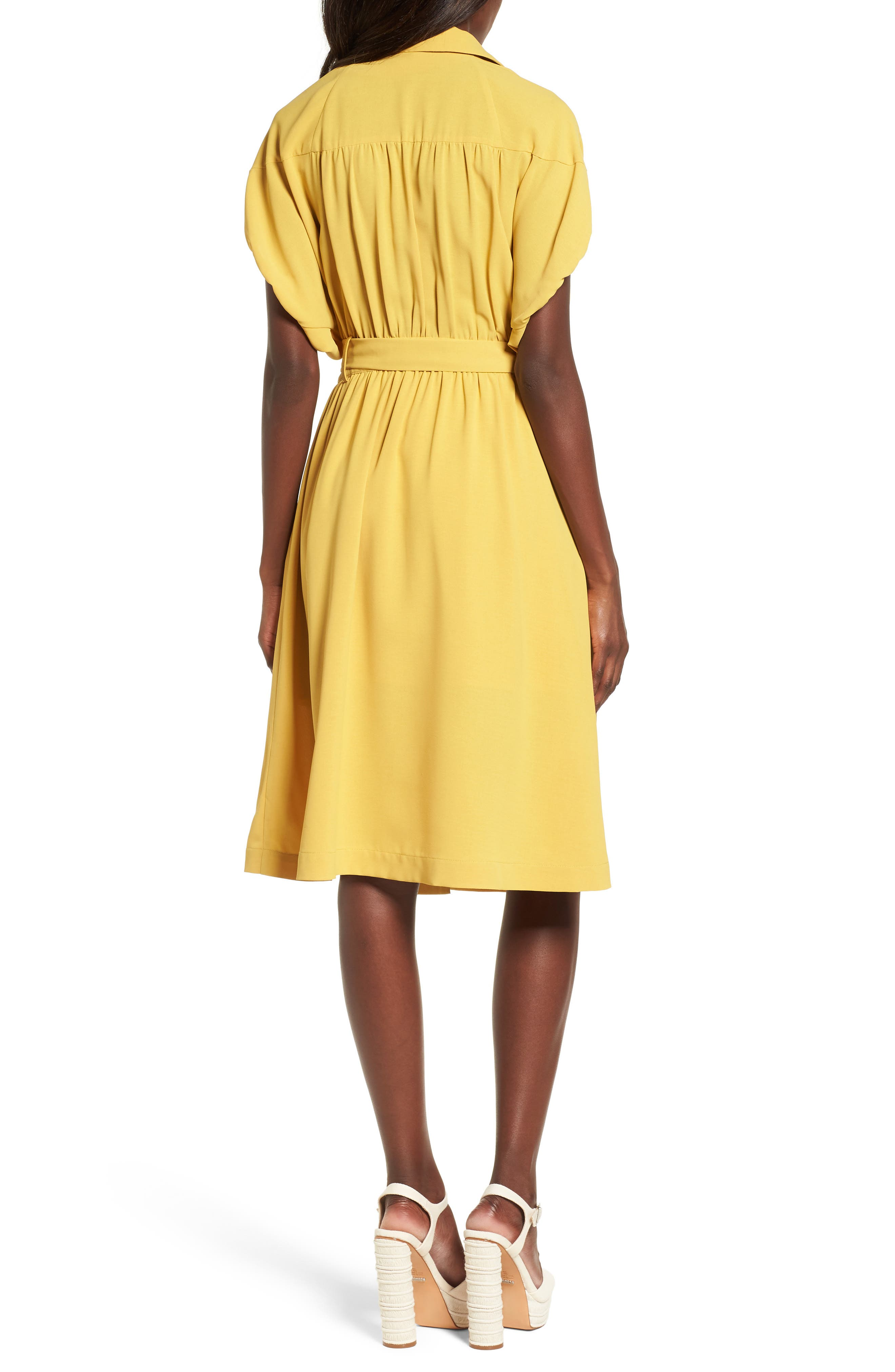 Chriselle x J.O.A. Cocoon Sleeve Dress,                             Alternate thumbnail 4, color,                             Roman Gold