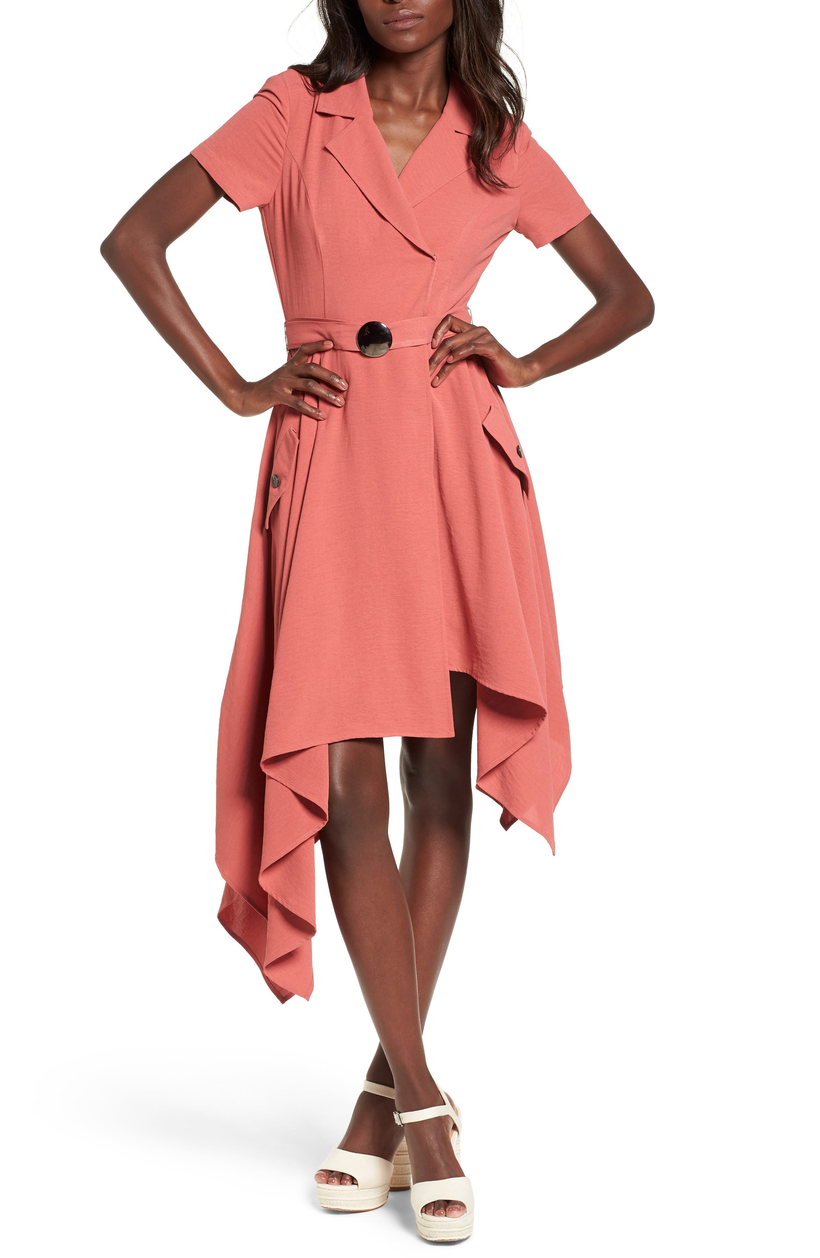 Chriselle x J.O.A. Asymmetrical Trench Dress,                         Main,                         color, Patina