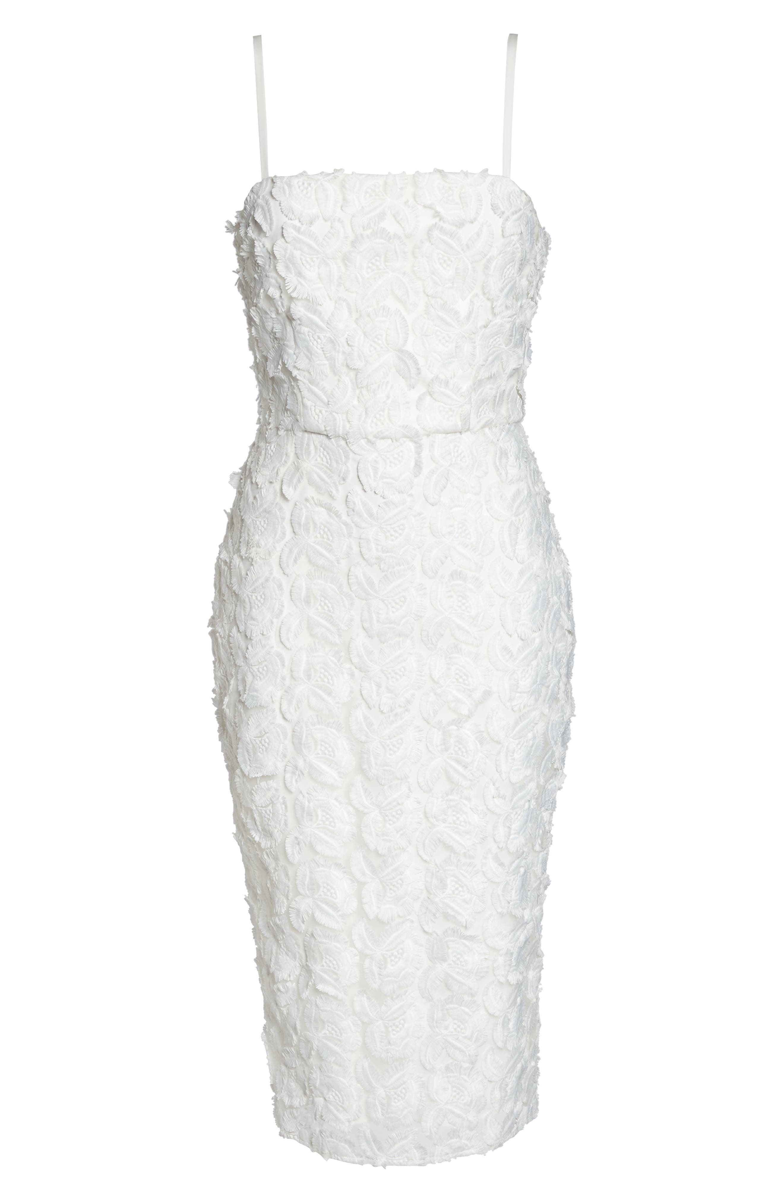 Floral Mirage Embroidered Lace Dress,                             Alternate thumbnail 6, color,                             Gardenia
