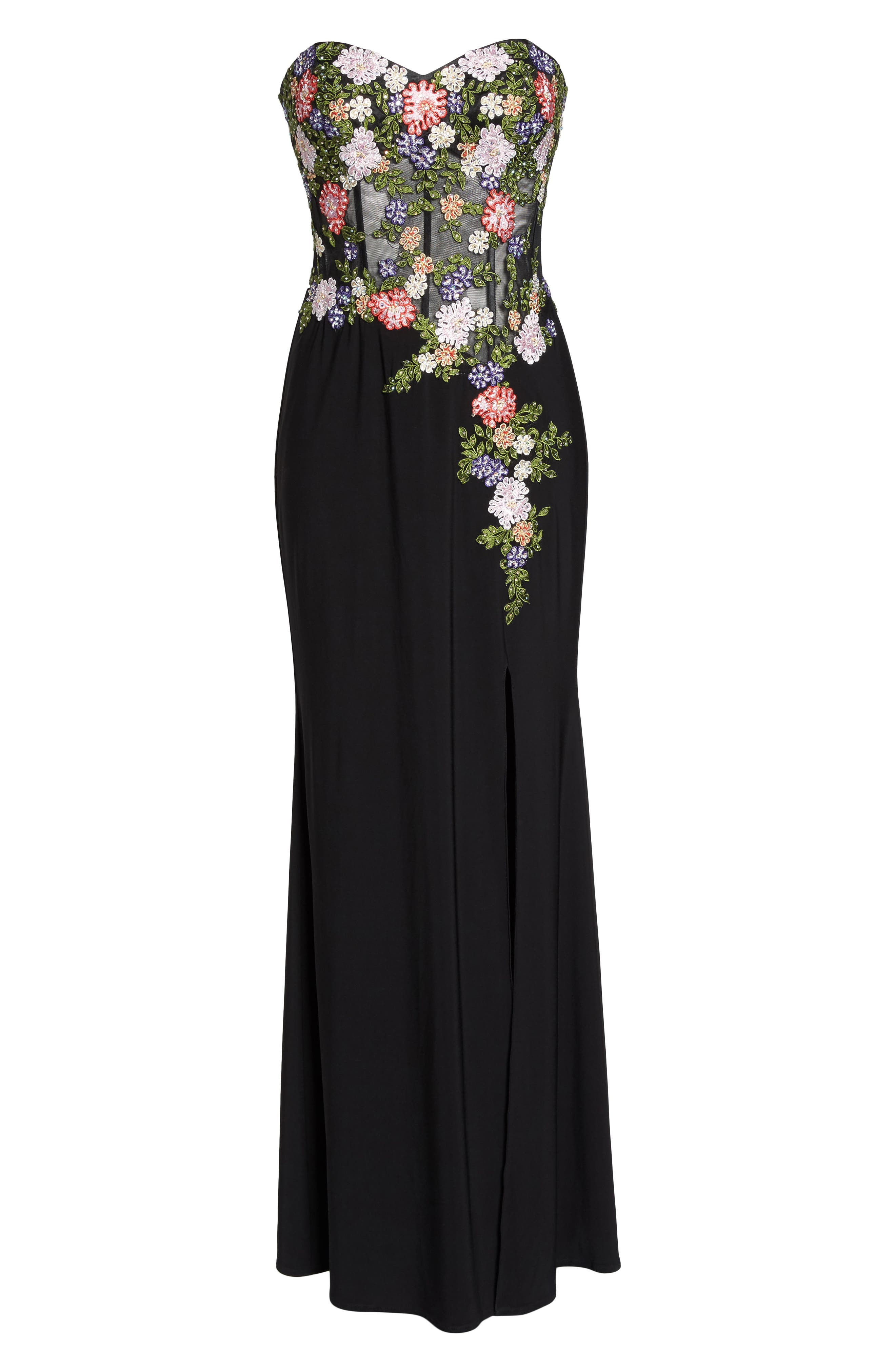 Embroidered Strapless Gown,                             Alternate thumbnail 6, color,                             Black/ Multi