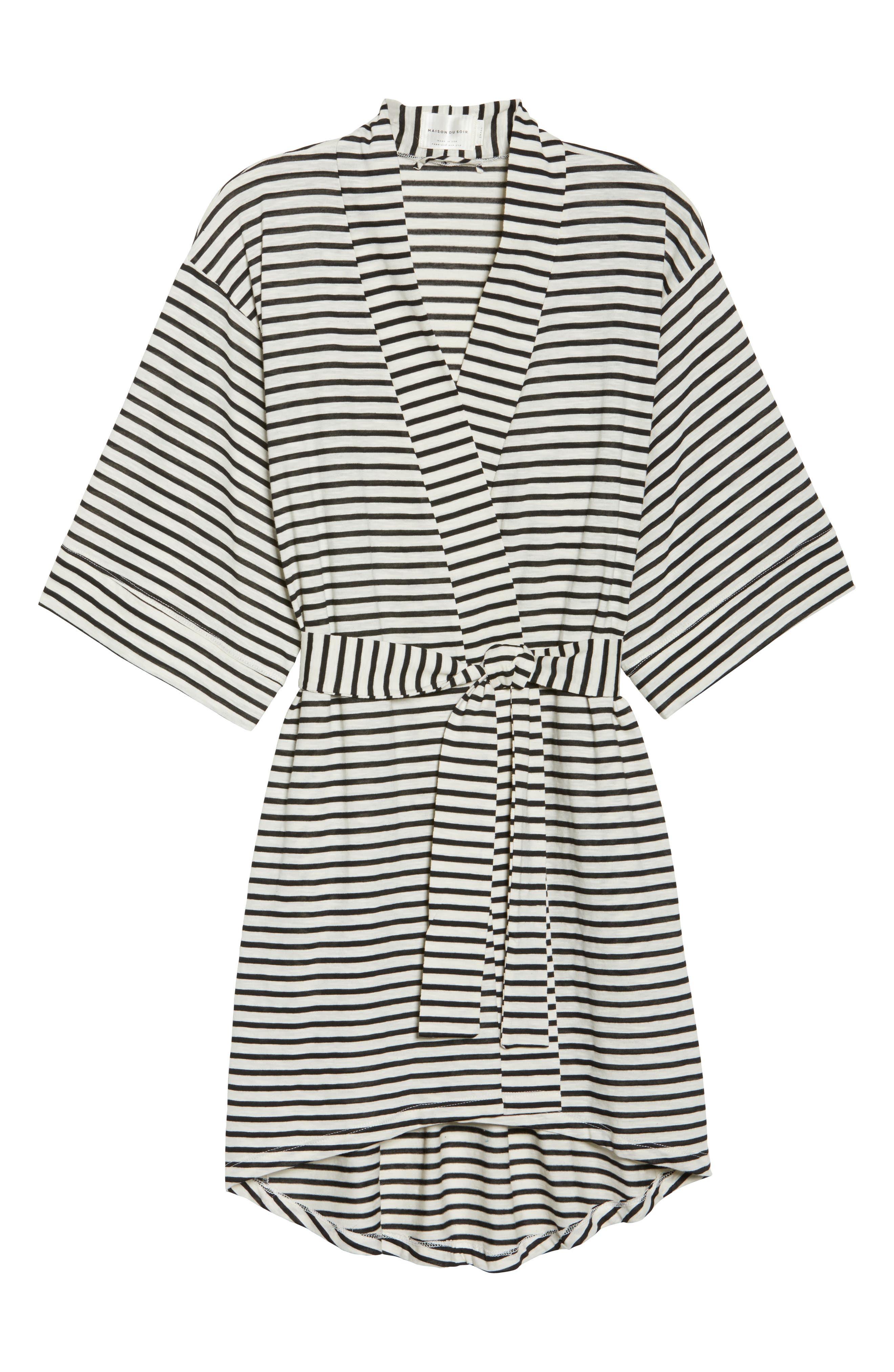 Florence Short Robe,                             Alternate thumbnail 4, color,                             Pearl Stripe