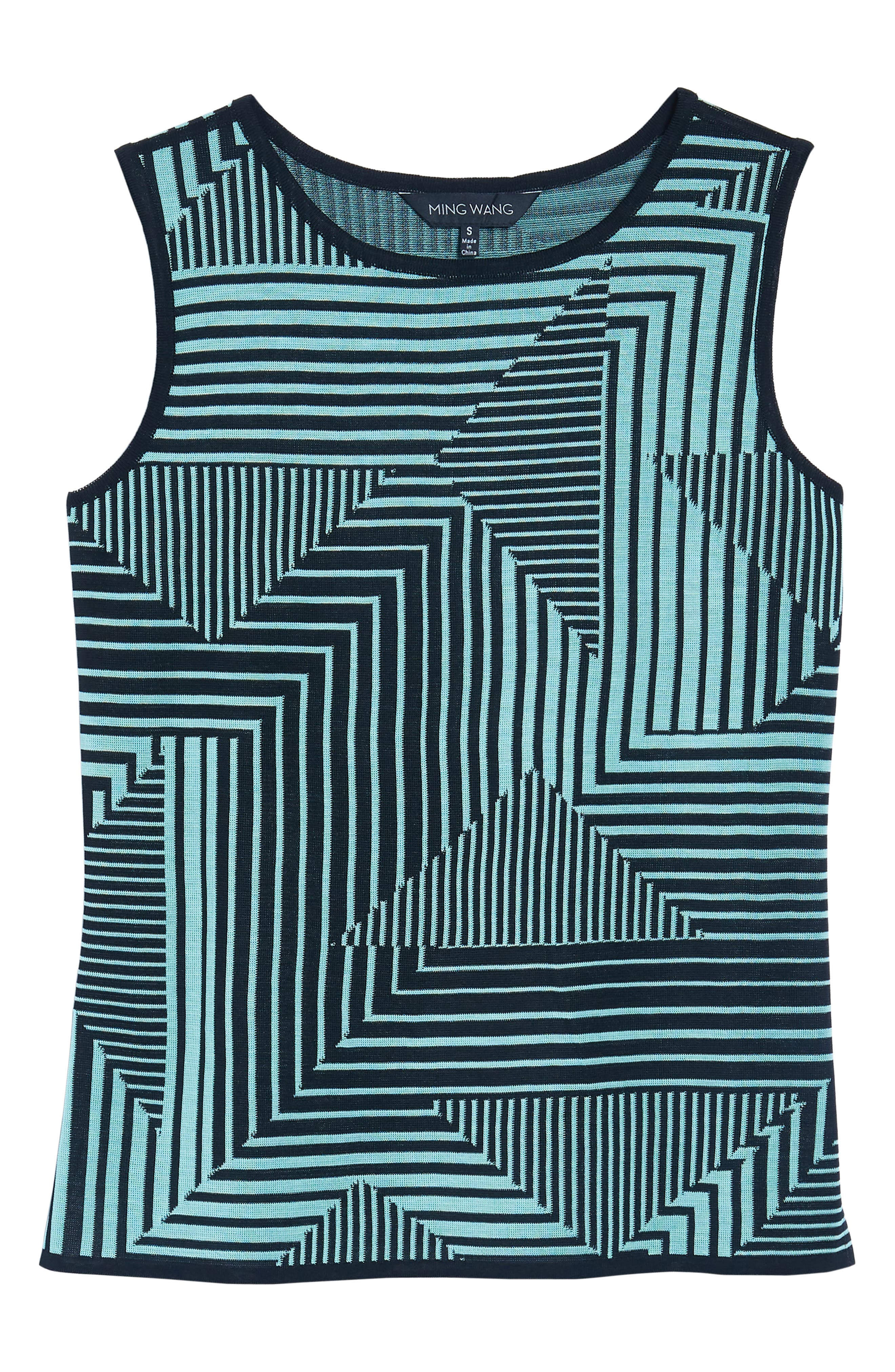 Geometric Striped Tank,                             Alternate thumbnail 6, color,                             Herb/ Black