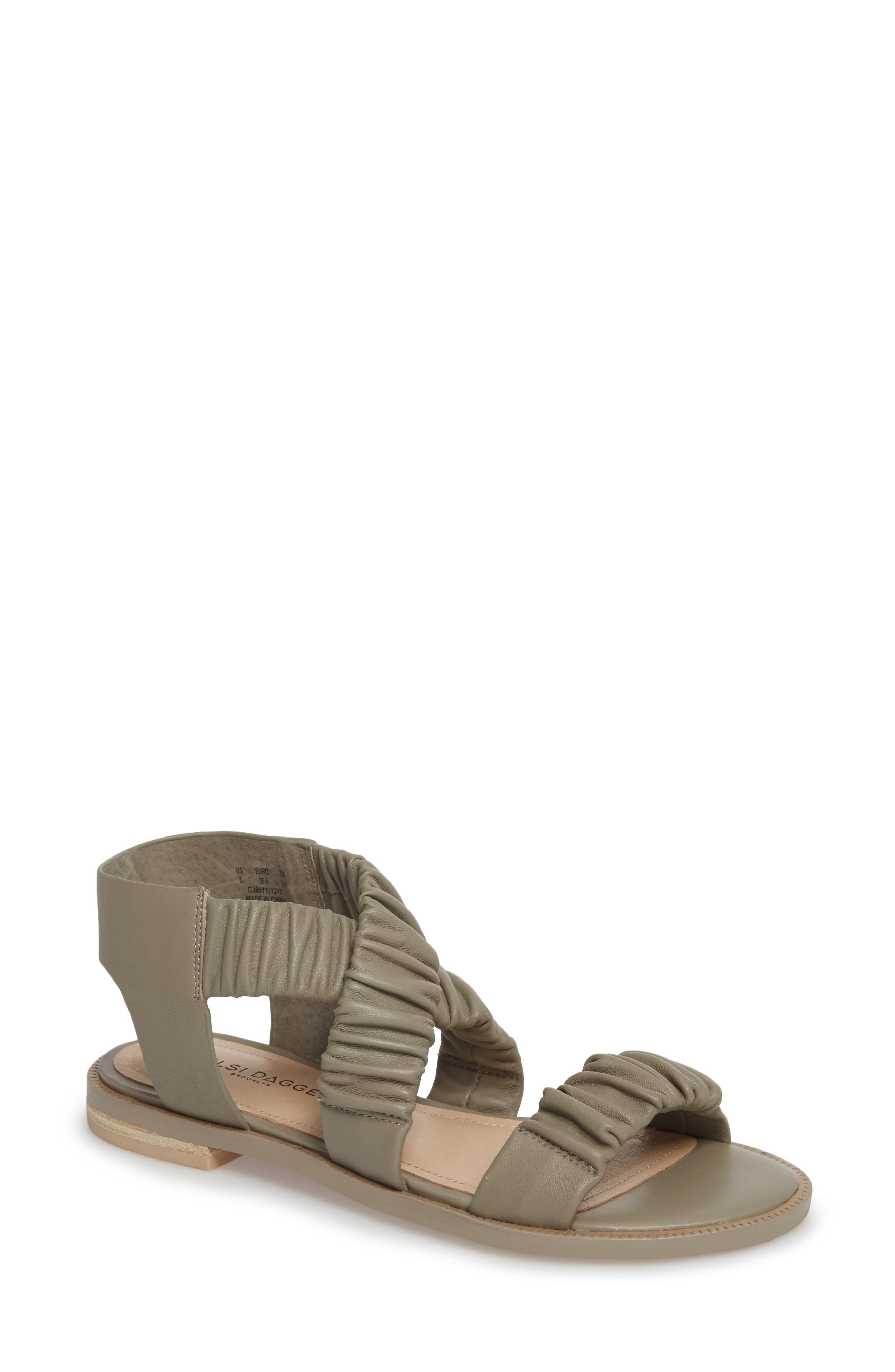 Ryder Pleated Flat Sandal,                         Main,                         color, Clove Leather
