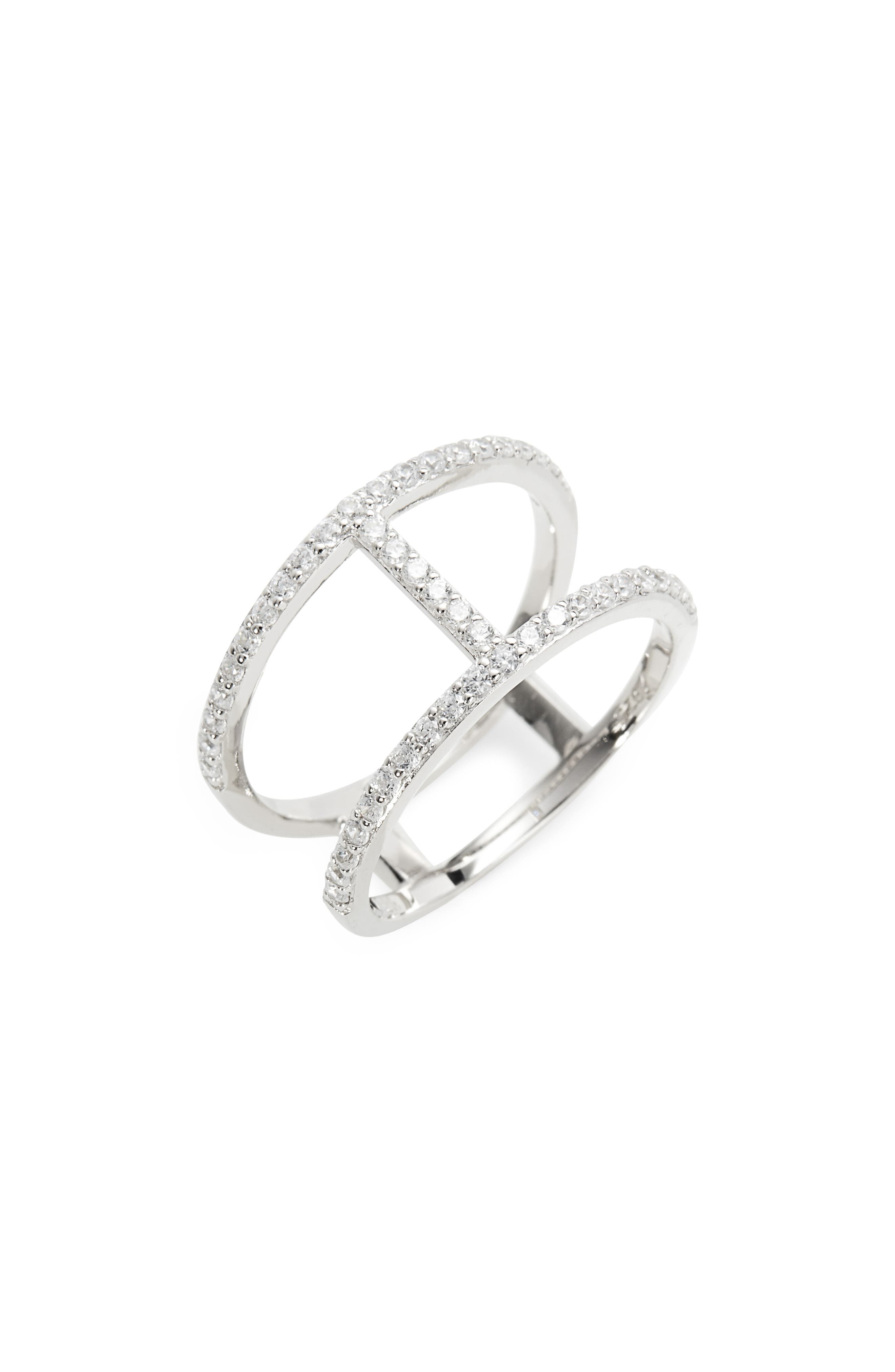 Split Pavé Ring,                         Main,                         color, Platinum