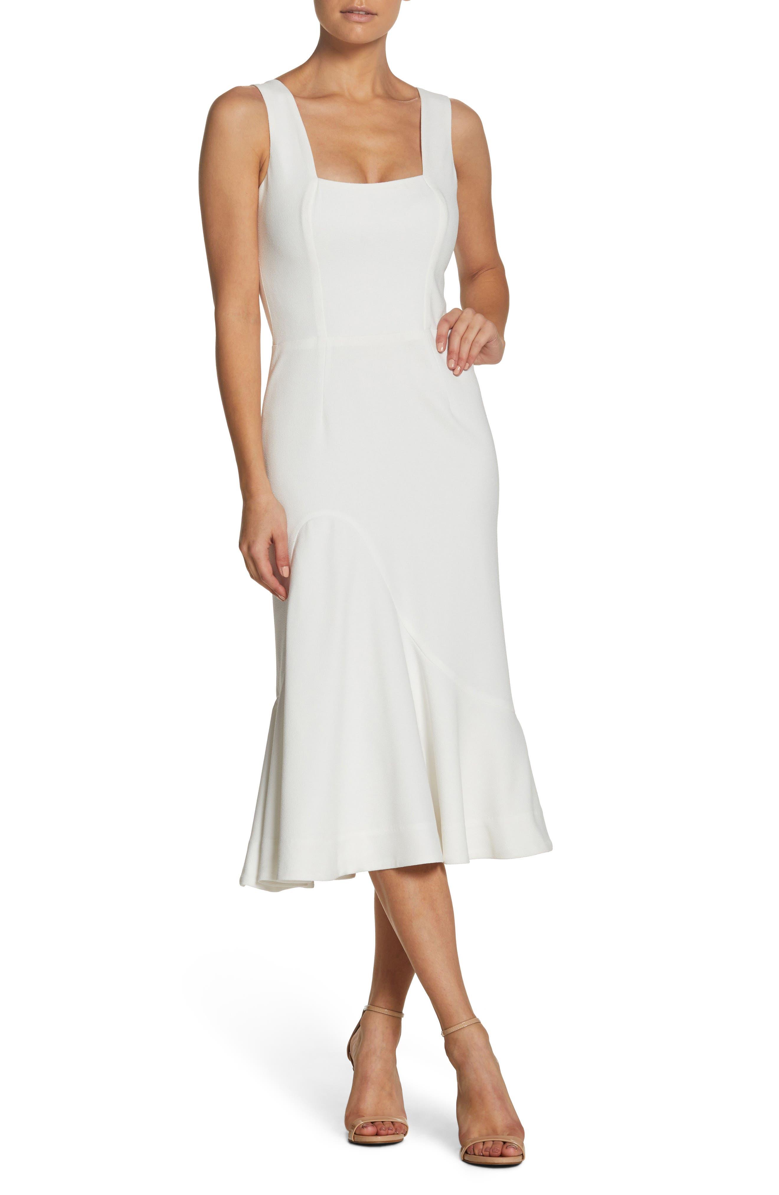 Monica Tea Length Trumpet Dress,                         Main,                         color, Off White