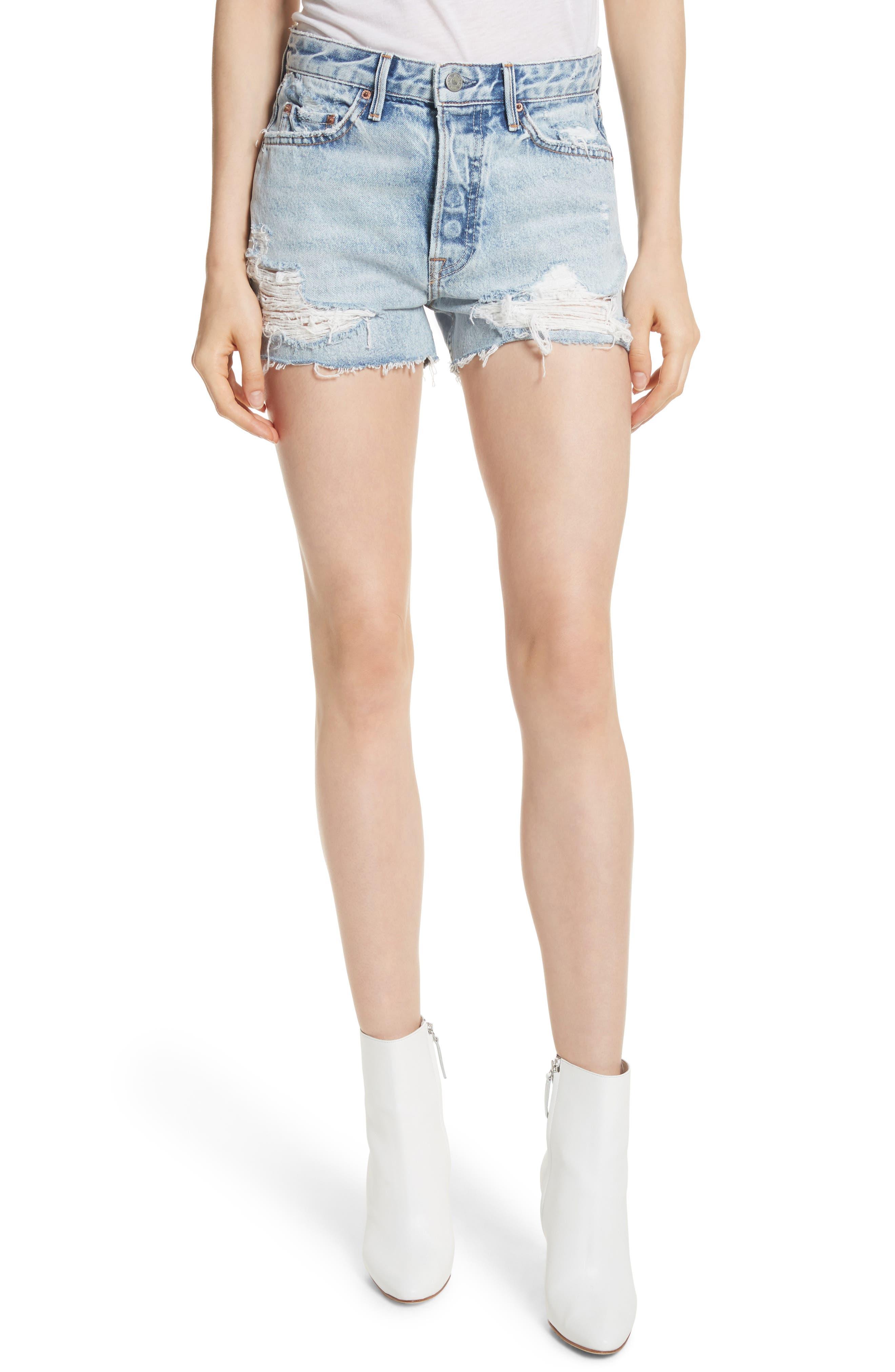 Main Image - GRLFRND Helena Ripped Denim Shorts (Acetone)