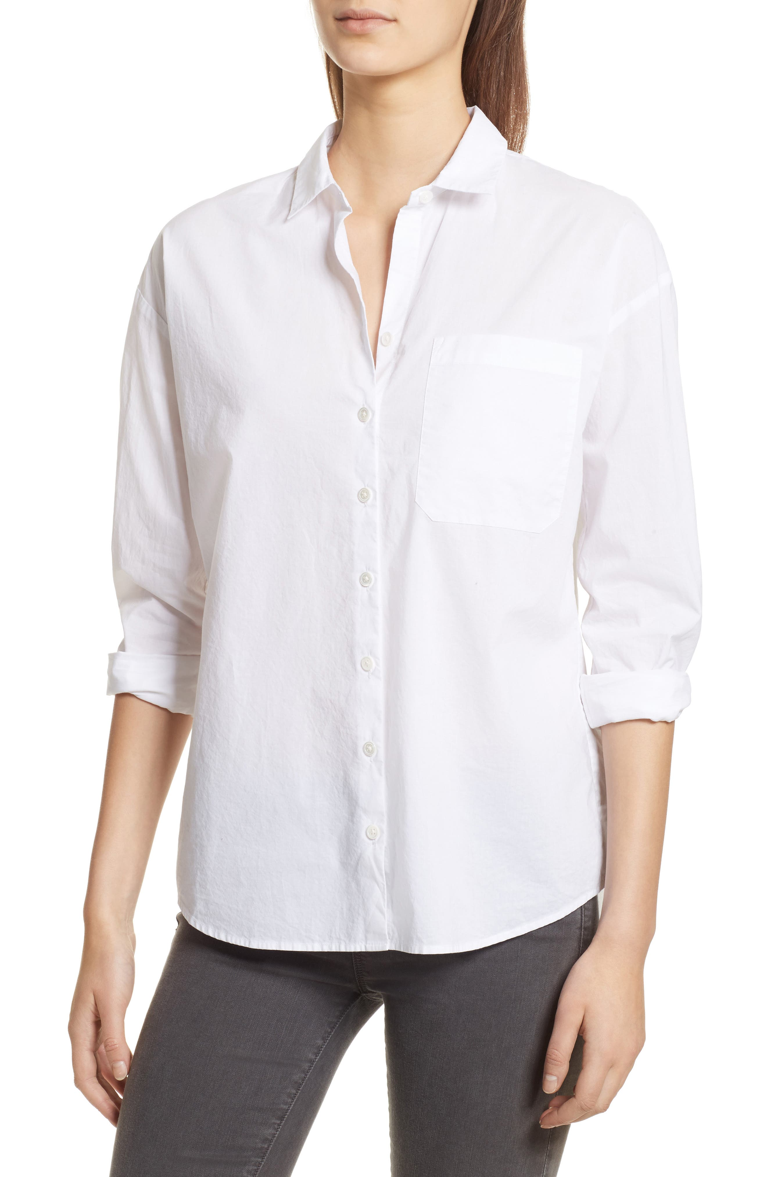 Cotton Poplin Boyfriend Shirt,                             Main thumbnail 1, color,                             White