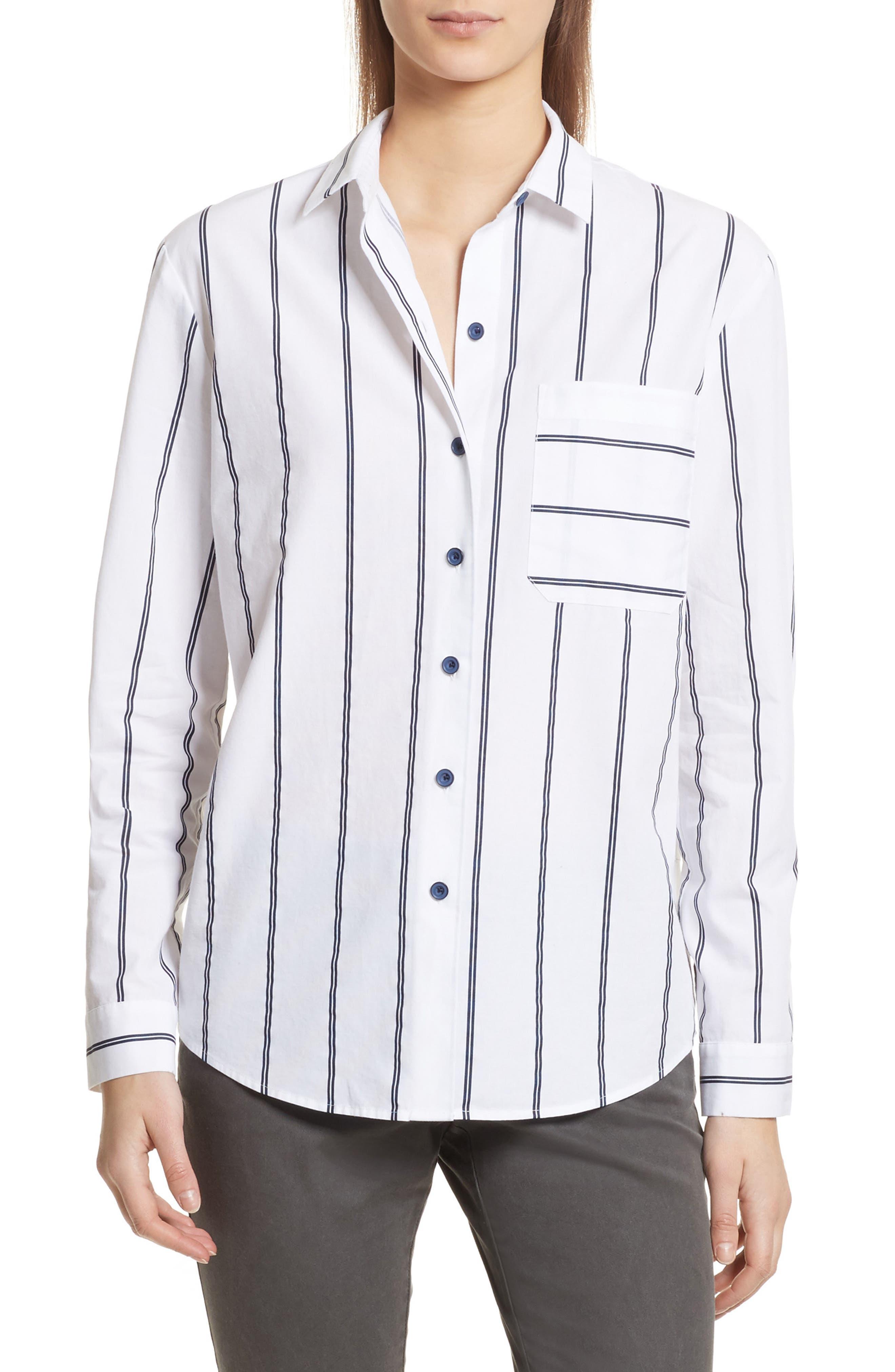 Railroad Stripe Boyfriend Shirt,                         Main,                         color, White/ Midnight Stripe