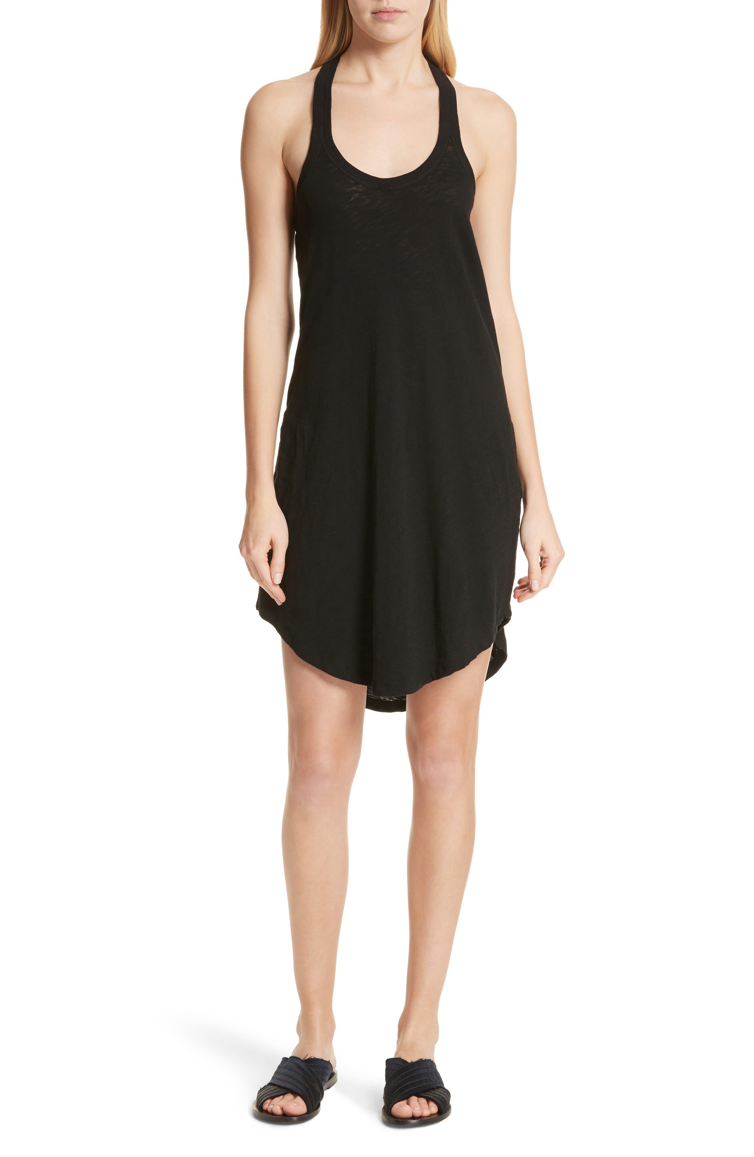 Cotton Trapeze Tank Dress,                             Main thumbnail 1, color,                             Black