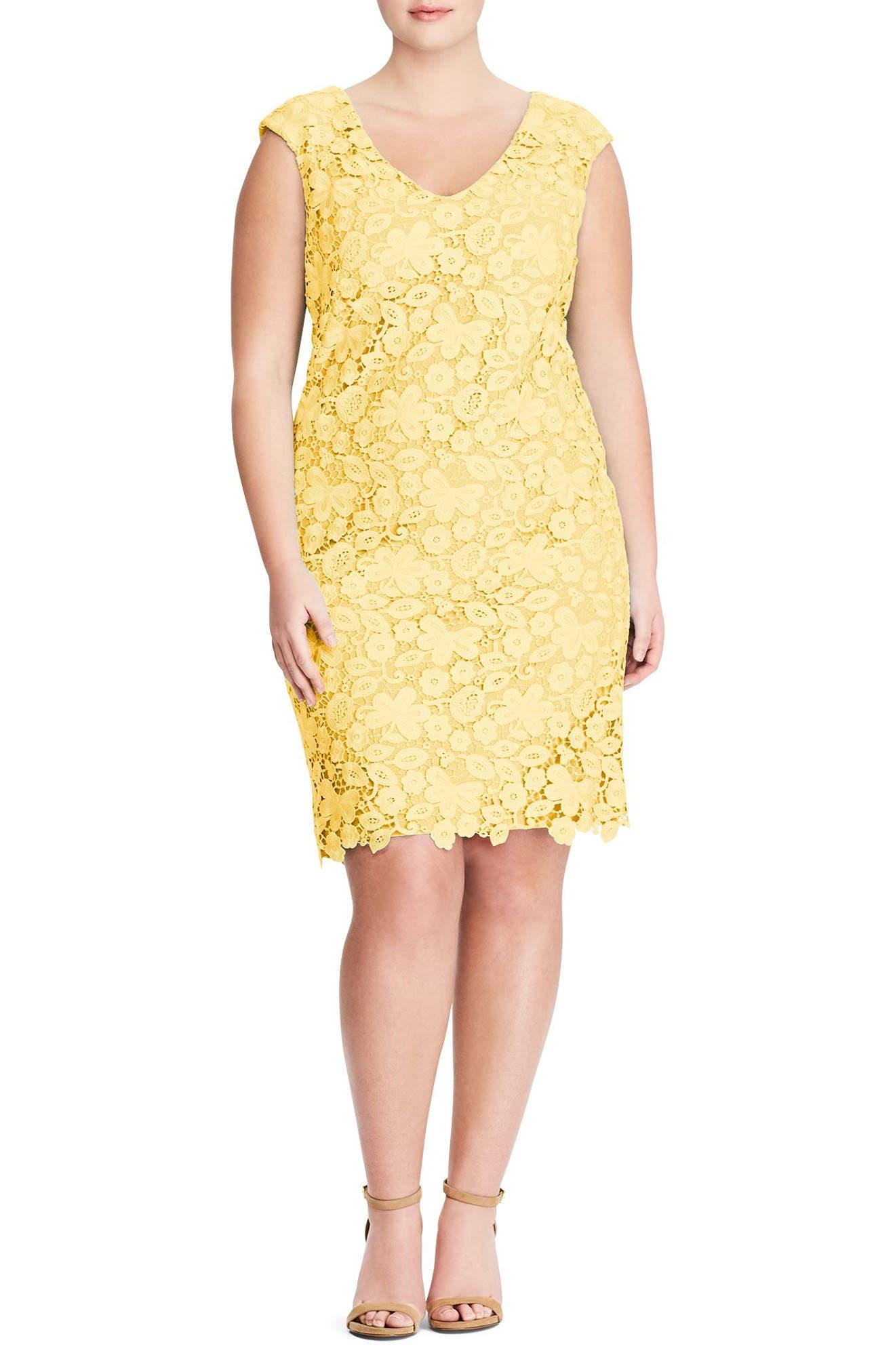 Montie Lace Sheath Dress,                             Main thumbnail 1, color,                             Island Yellow