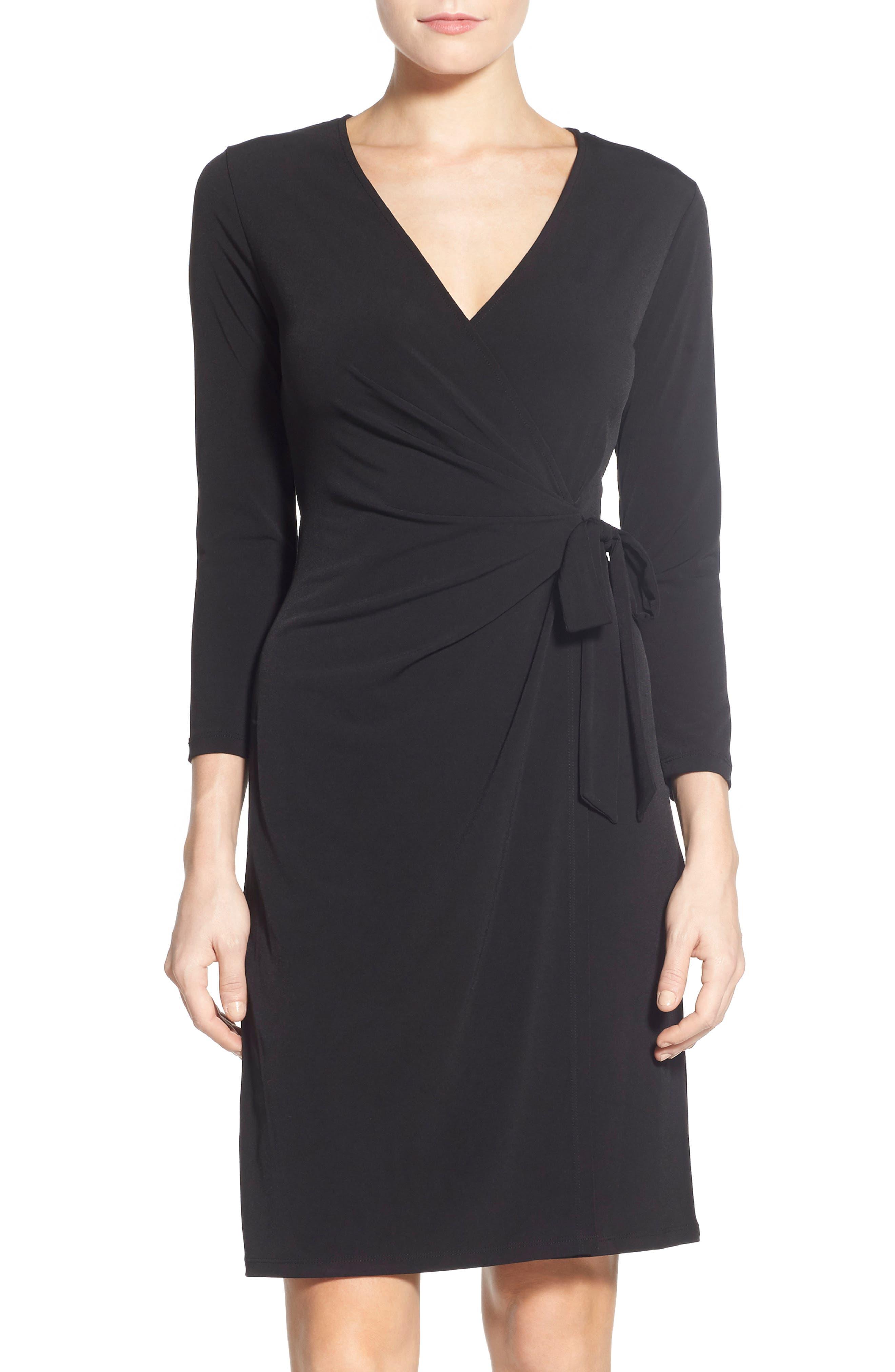 Faux Wrap Jersey Dress,                             Main thumbnail 1, color,                             Black
