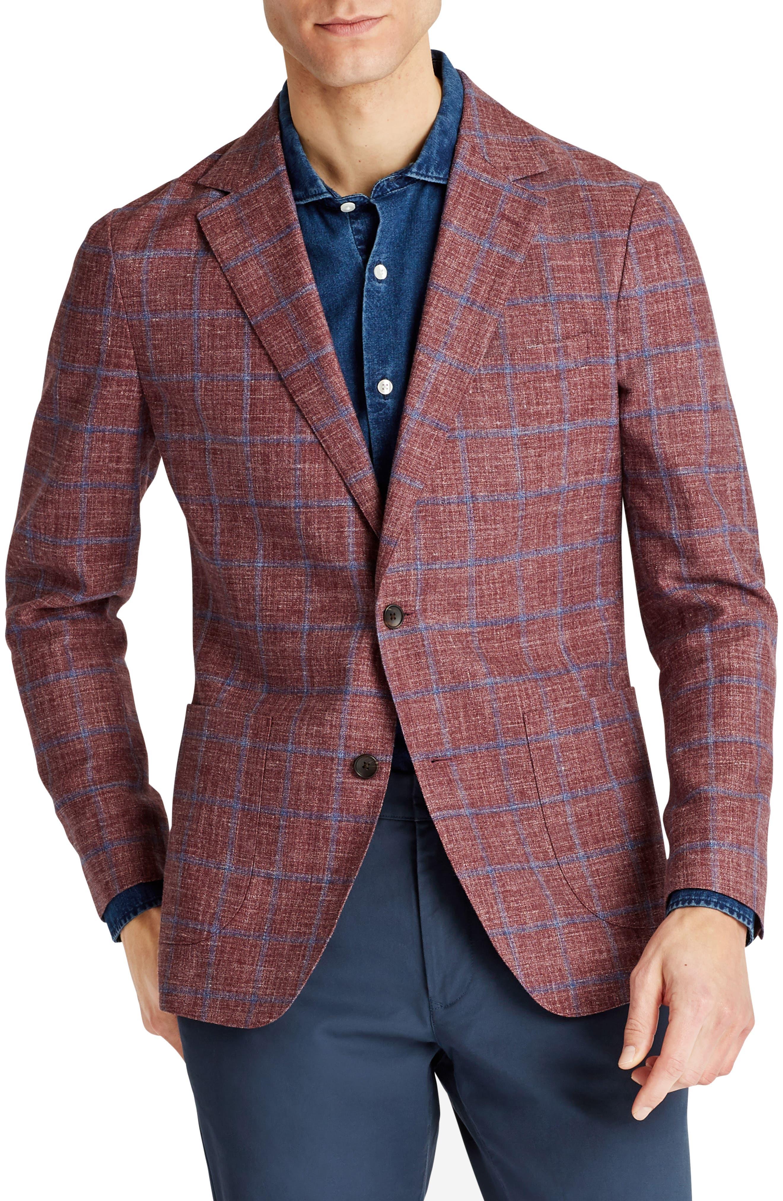 Capstone Slim Fit Windowpane Wool Blend Sport Coat,                             Main thumbnail 1, color,                             Red Plaid