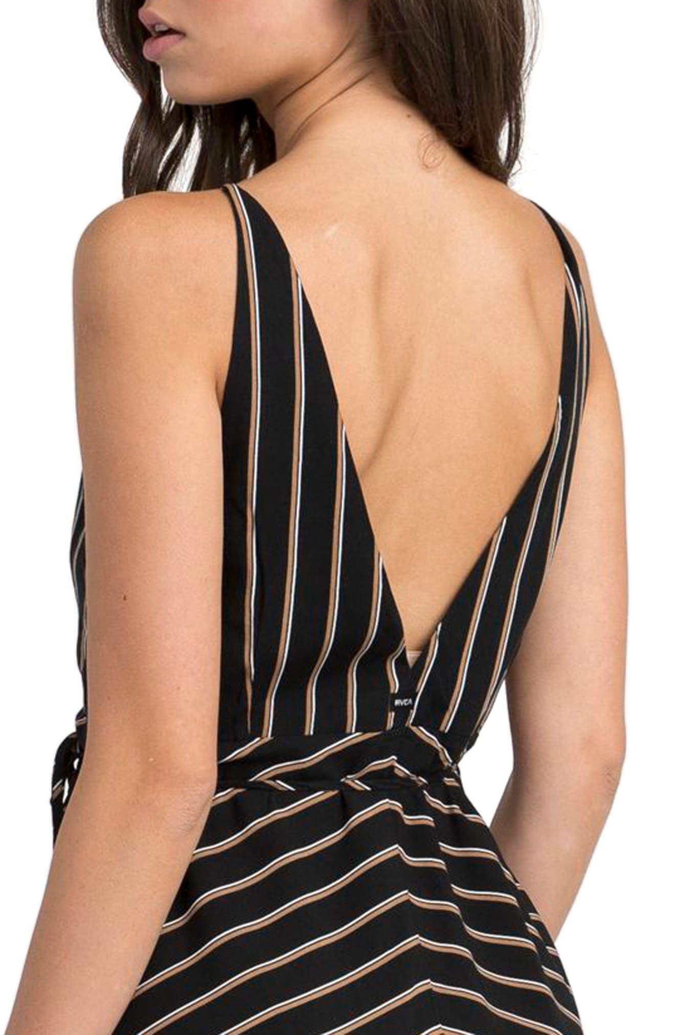 Dat Stripe Wrap Dress,                             Alternate thumbnail 5, color,                             Black