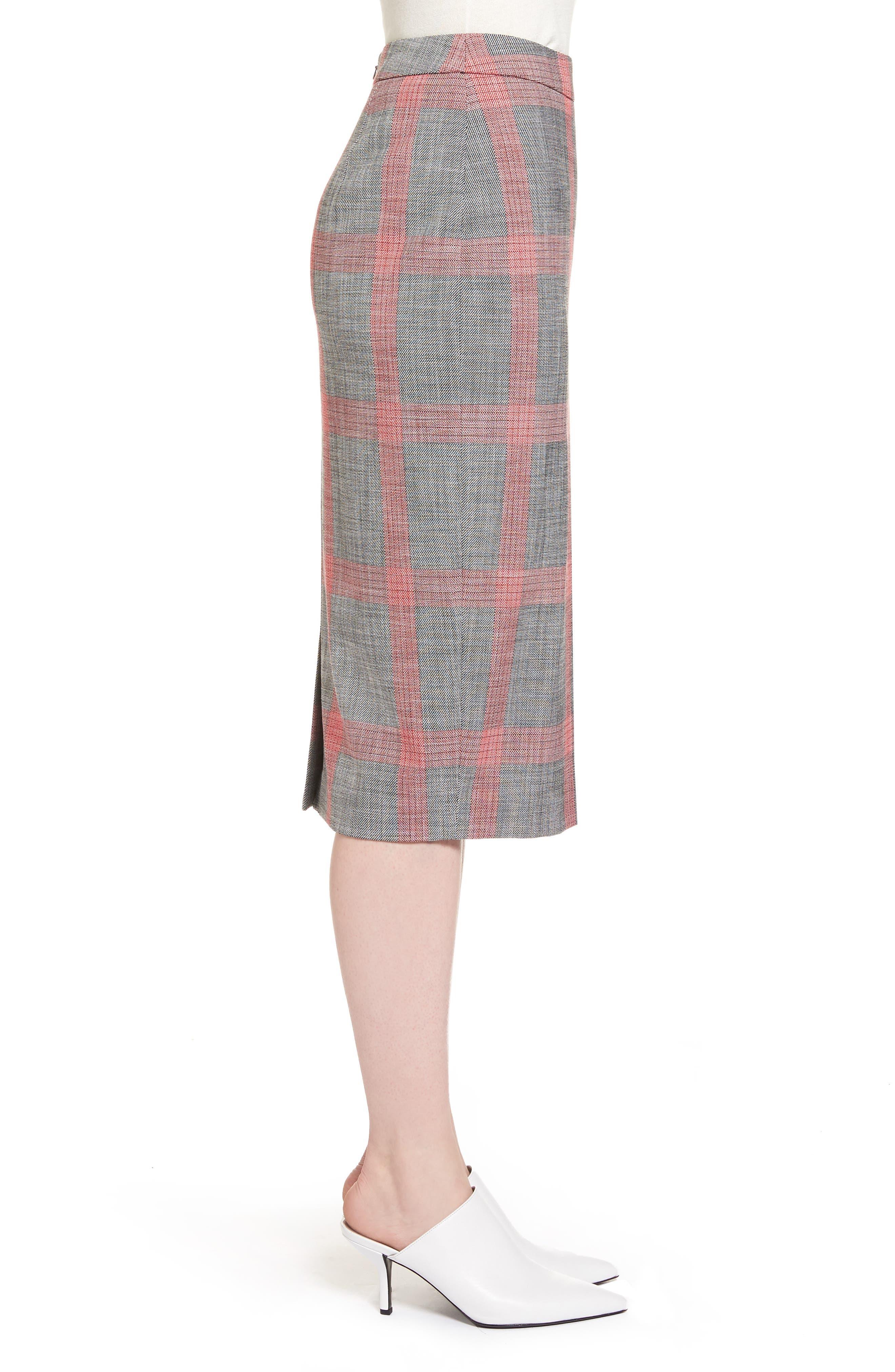 Plaid Pencil Skirt,                             Alternate thumbnail 4, color,                             Black- Red Plaid