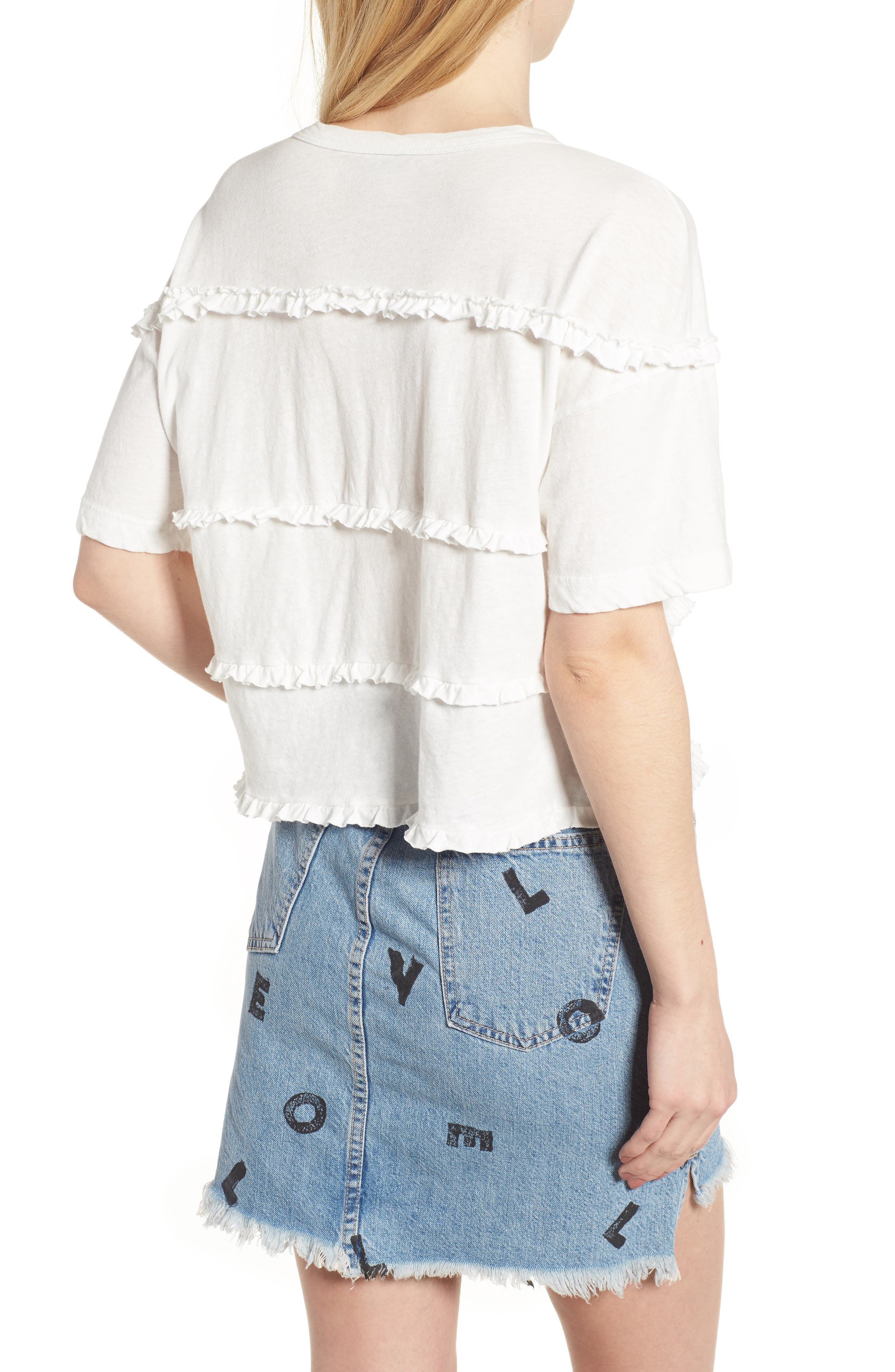 The Claudia Ruffle Tee,                             Alternate thumbnail 2, color,                             Star White