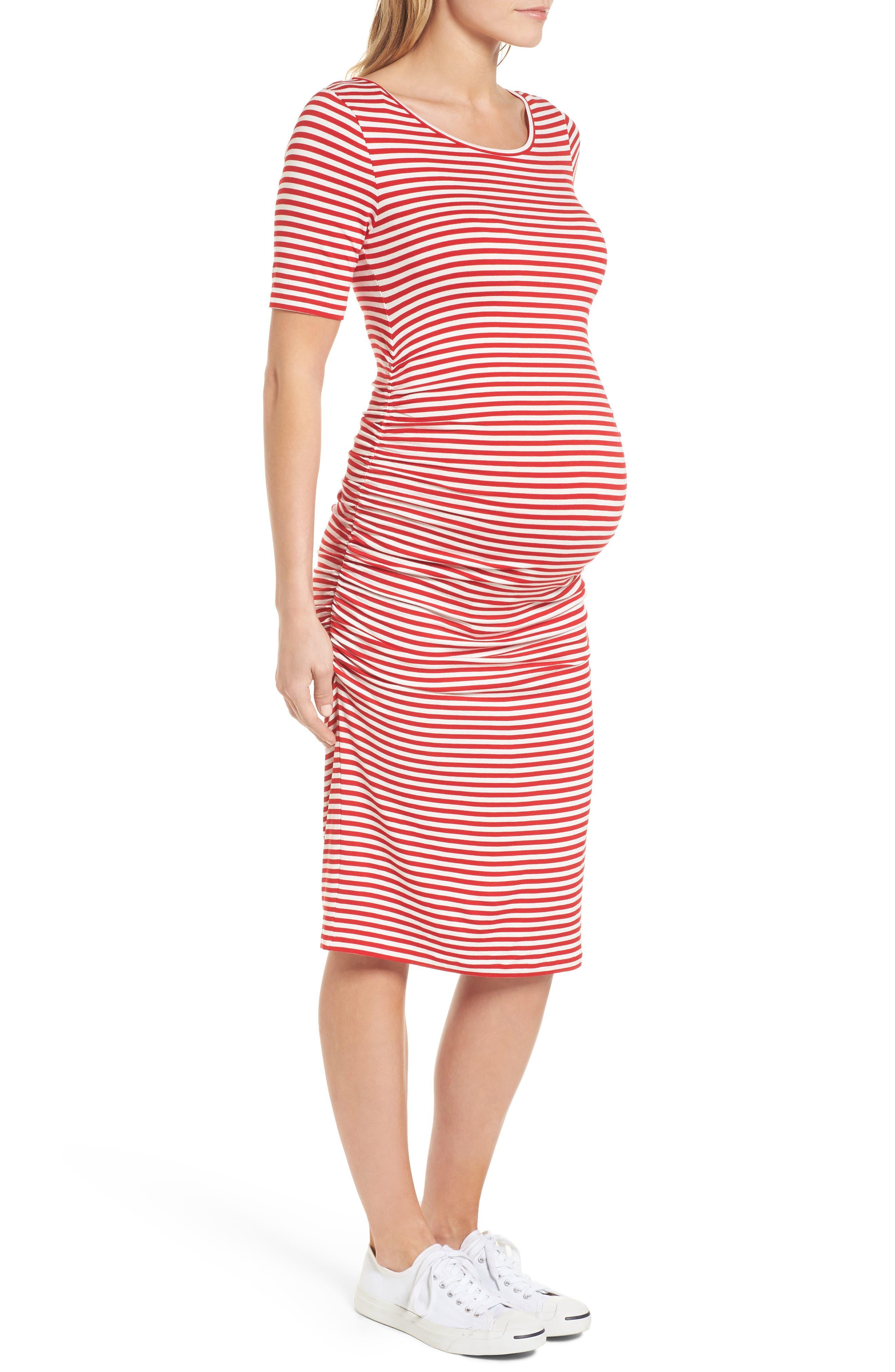 Jenna Stripe Maternity T-Shirt Dress,                             Alternate thumbnail 3, color,                             Red/Off White Stripe
