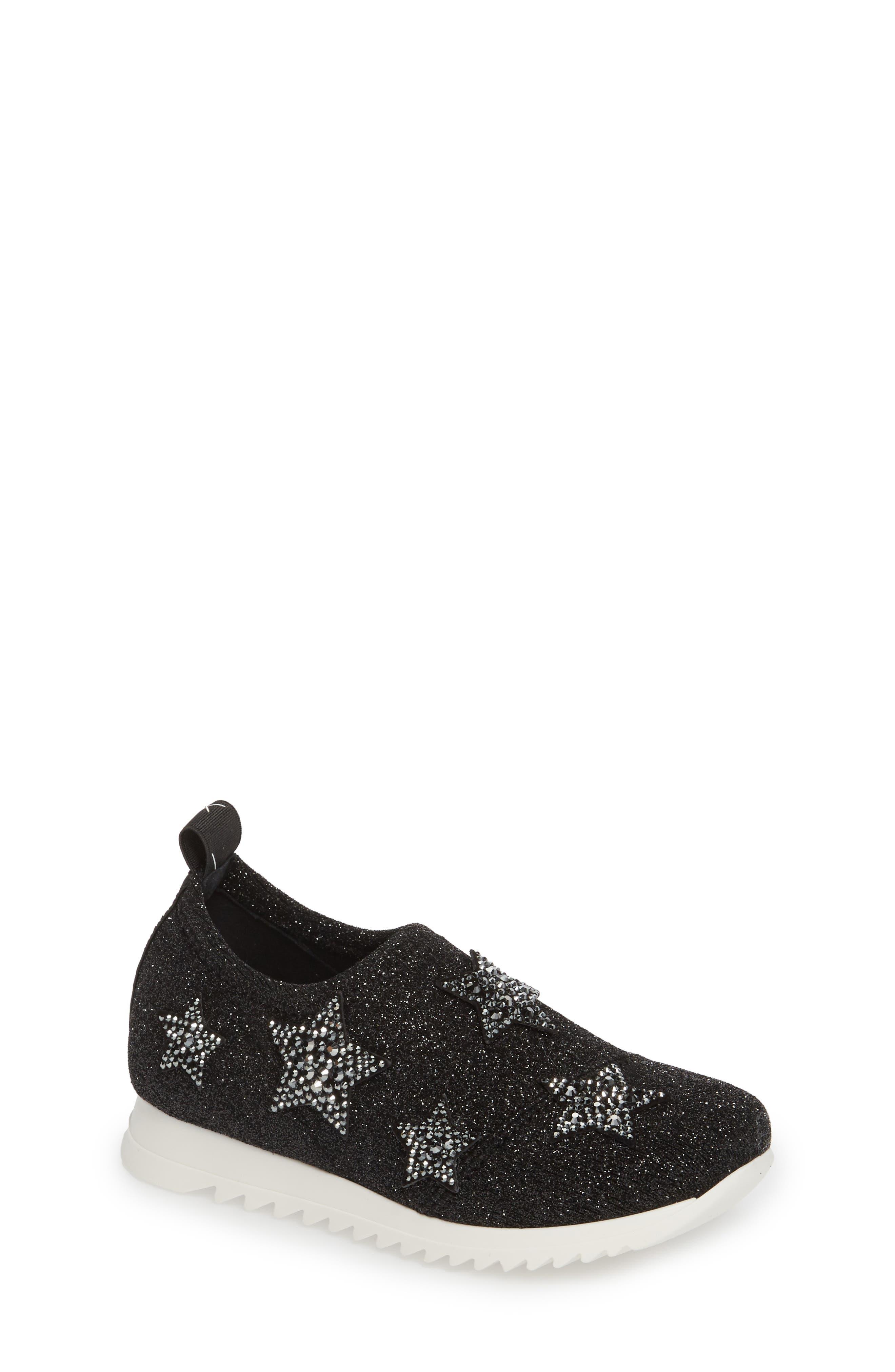 Natalie Star Glitter Slip-On Sneaker,                             Main thumbnail 1, color,                             Black