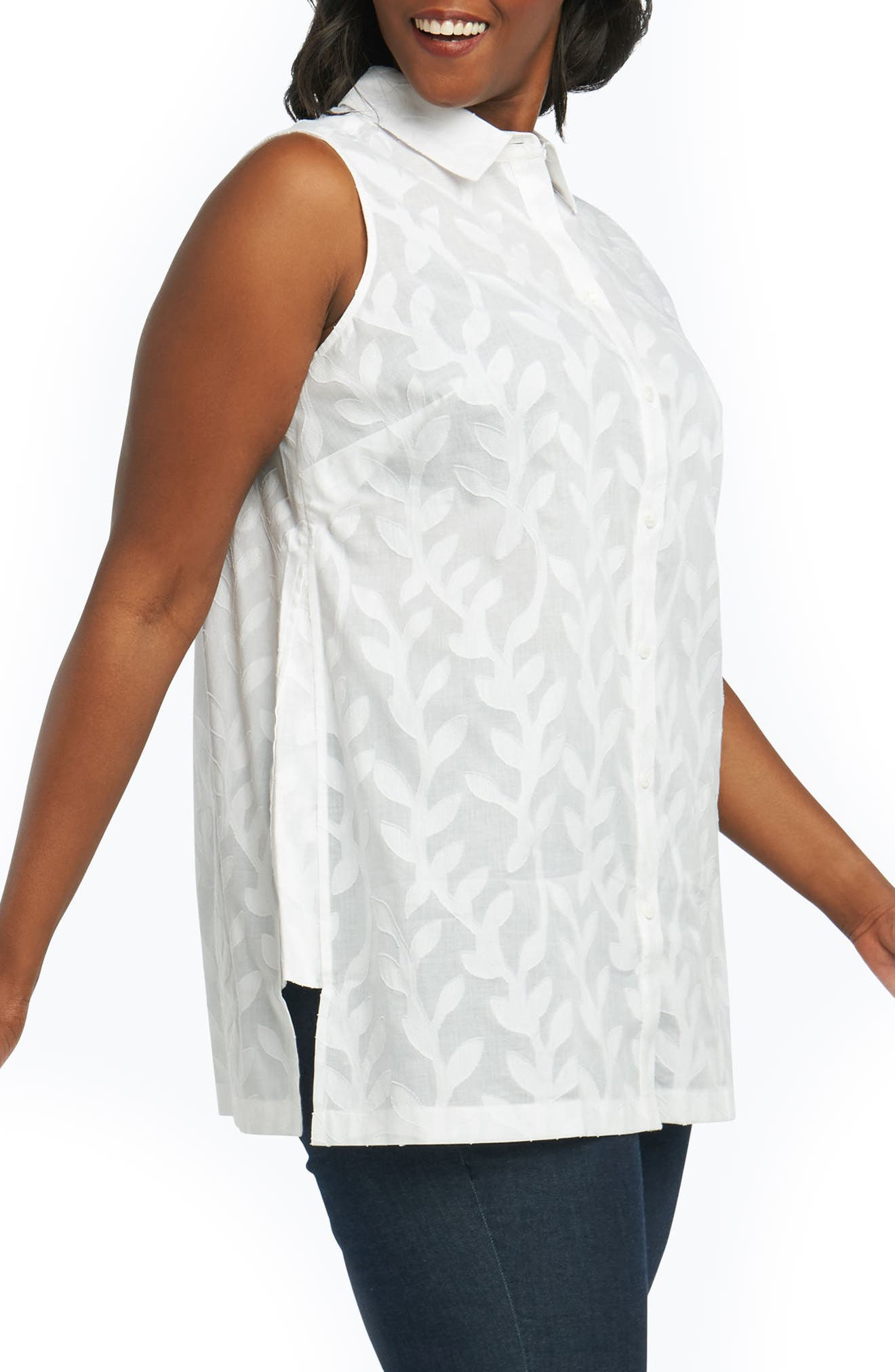Ariah Palm Jacquard Sleeveless Shirt,                             Alternate thumbnail 3, color,                             White